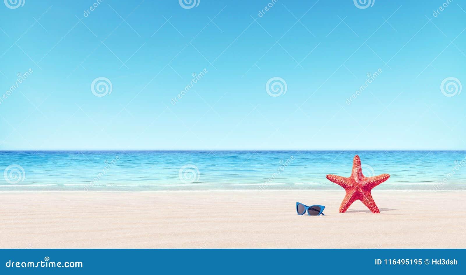 Estrellas de mar rojas y gafas de sol azules en el fondo del verano de la playa