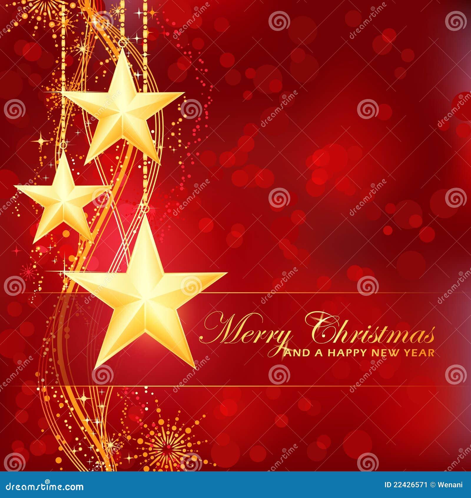 A Very Merry Borik�n Christmas: Estrellas De Oro De La Feliz Navidad En Fondo Rojo