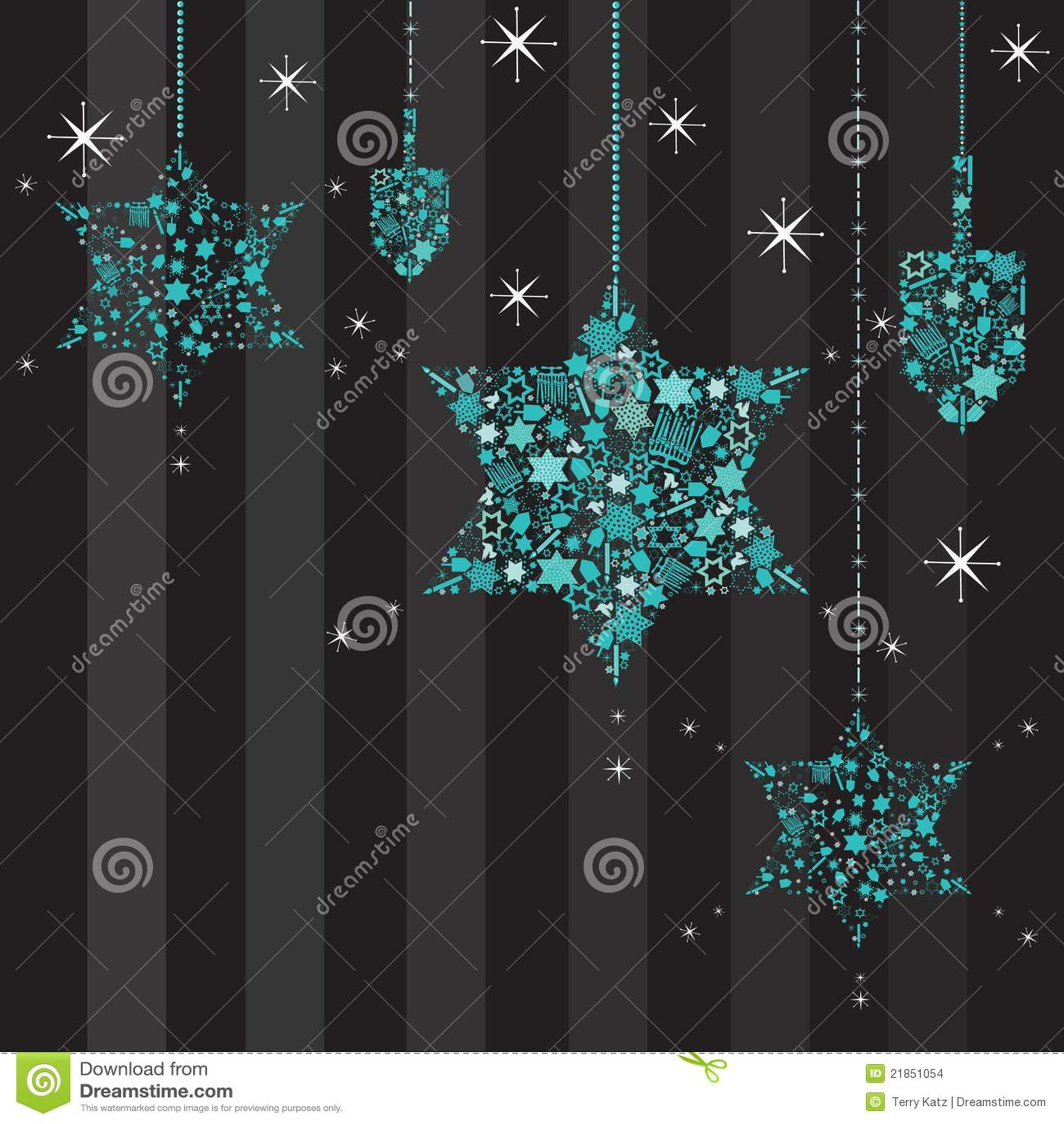 Estrellas del centelleo y tarjeta de Dreidels Hanukkah