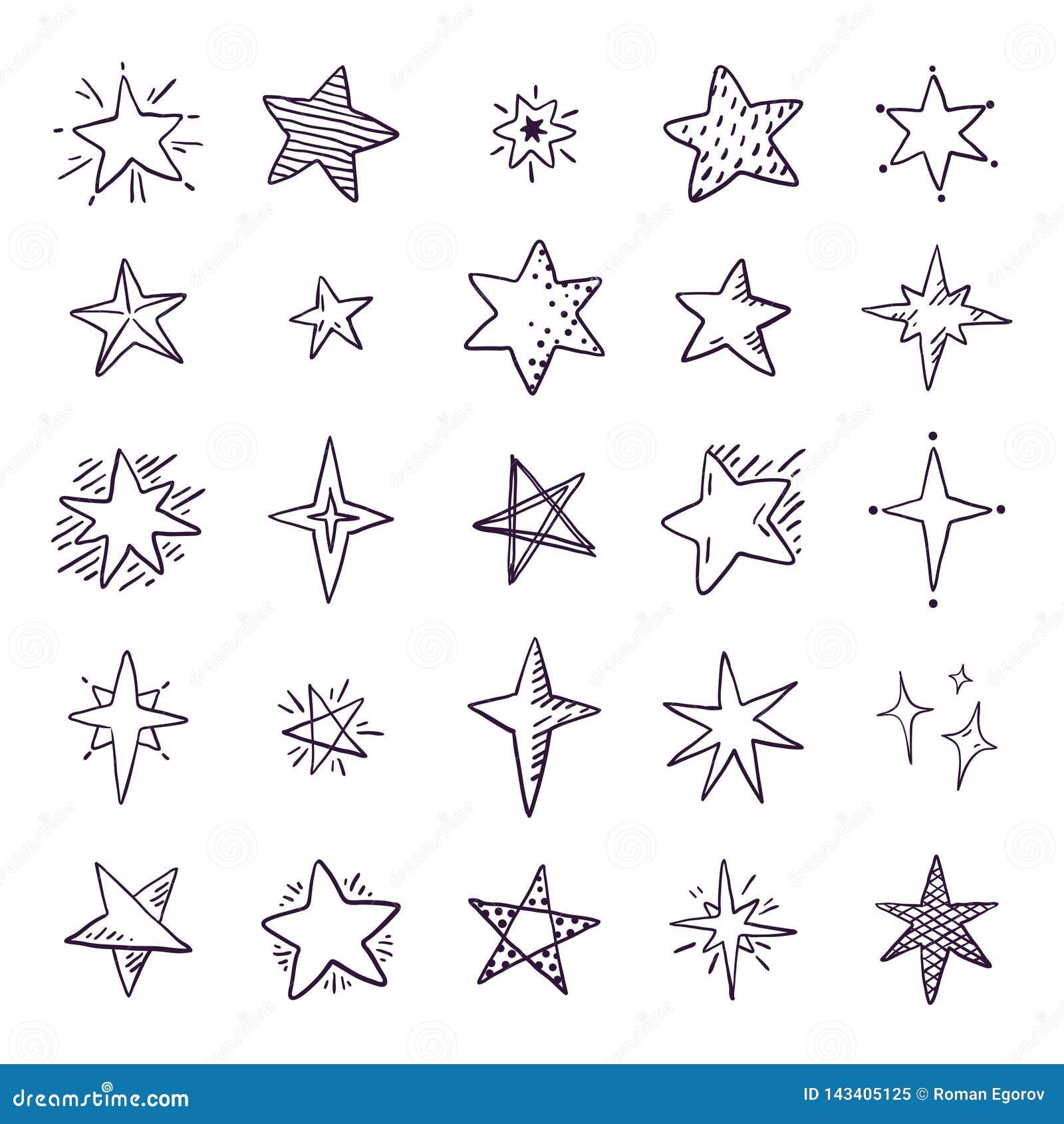 Estrellas del garabato Elementos lindos del espacio del bosquejo de la pluma, sistema geométrico simple, modelo de estrella exhau