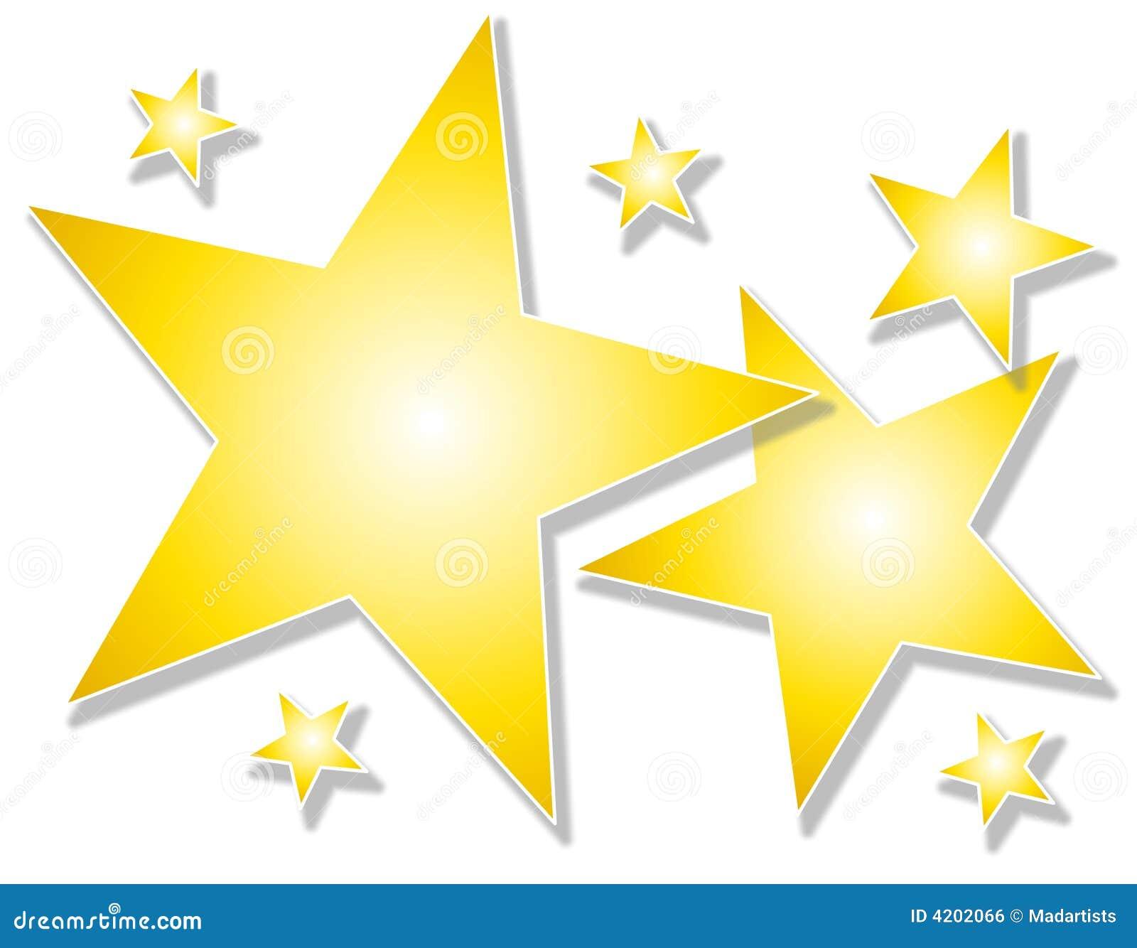 Estrellas del oro en el fondo blanco