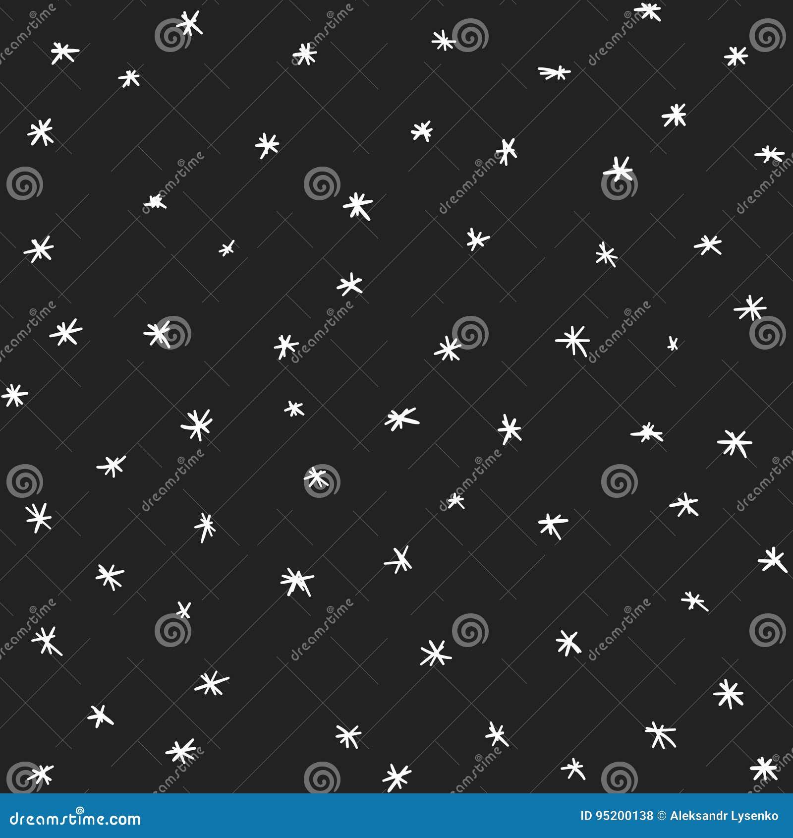 Estrellas del vector y modelo dibujados mano inconsútil de la nieve Ejemplo del vector de las nevadas