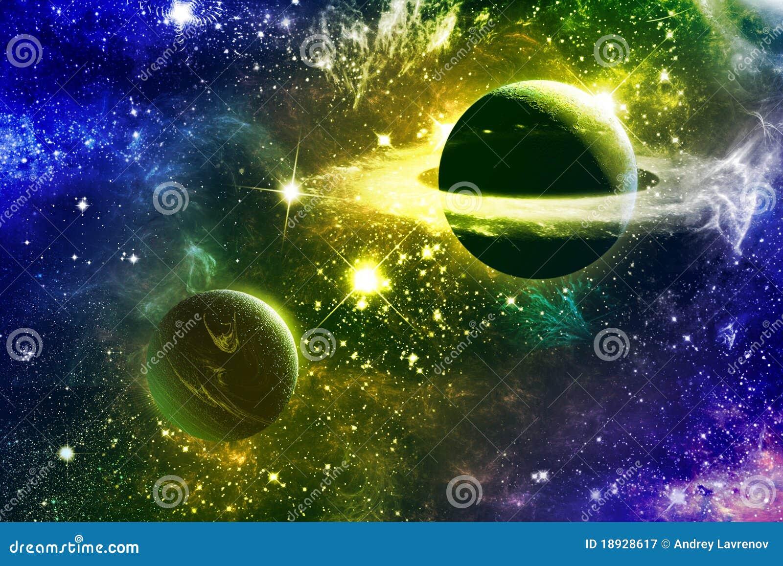 Estrellas y planetas de la nebulosa de la galaxia del universo