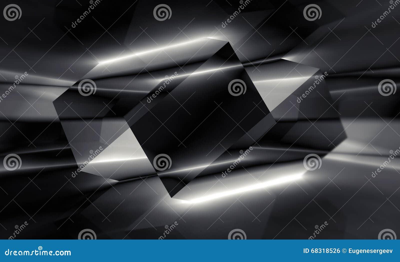 Estructura Cristalina Poligonal Negra Ejemplo 3d Stock De