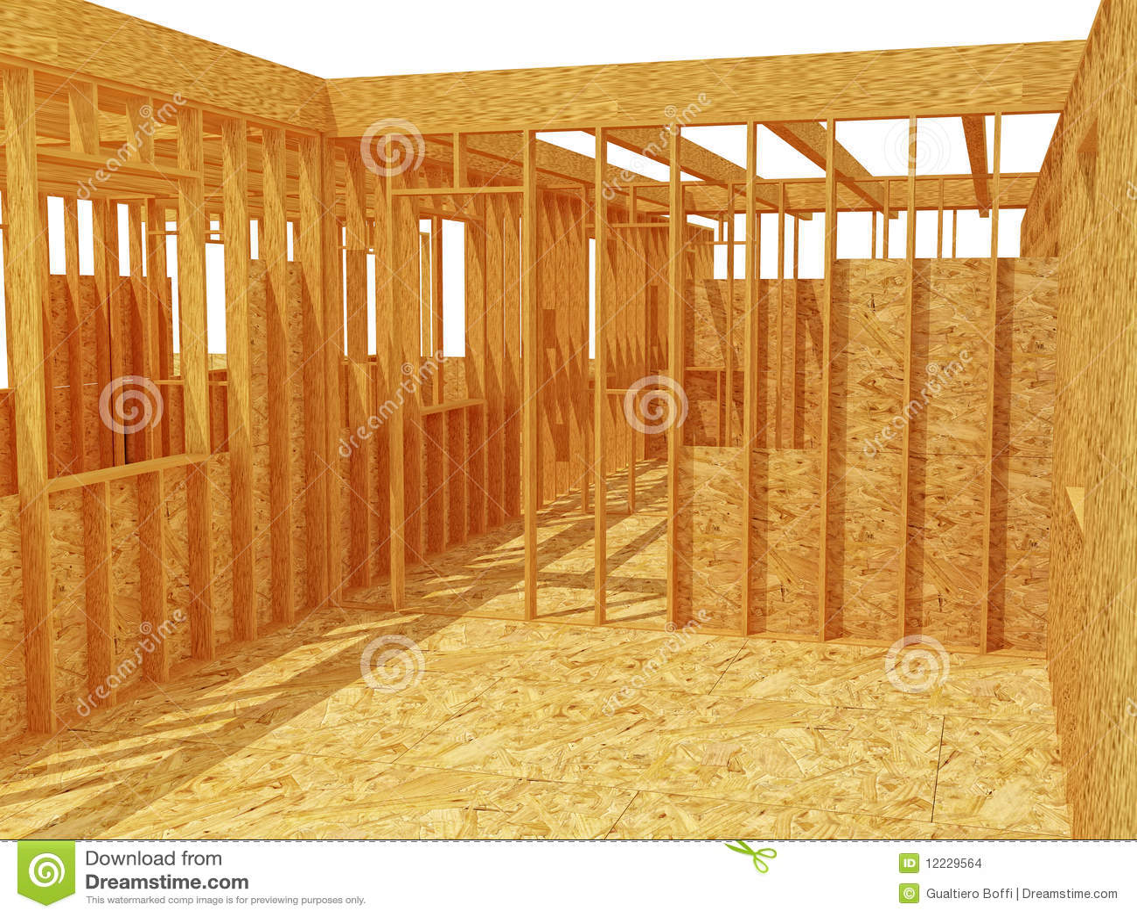 Estructura de la casa de madera 3d stock de ilustraci n - Casas estructura de madera ...