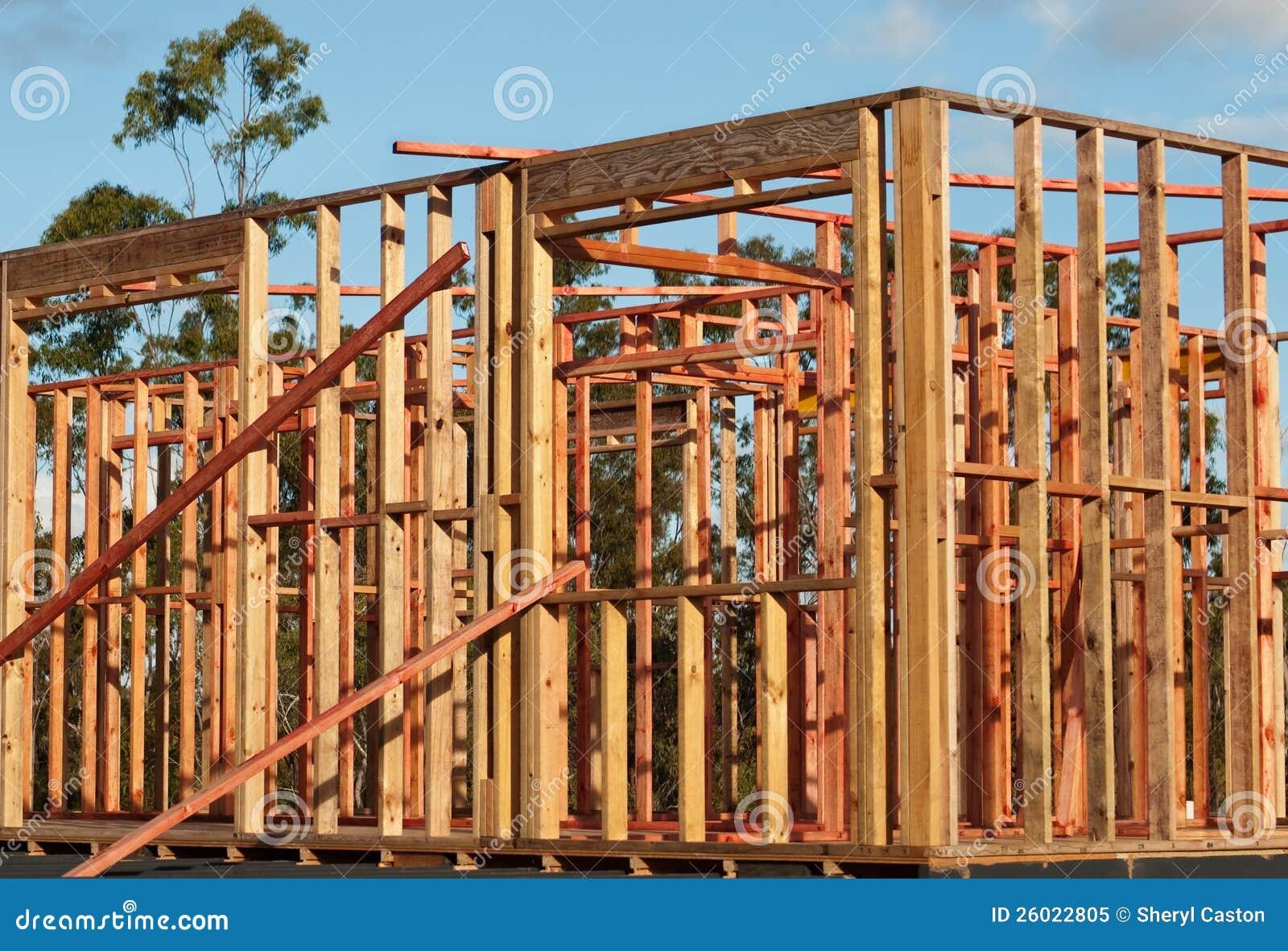 Estructura De La Casa De Marcos De La Pared De Madera Del Pino