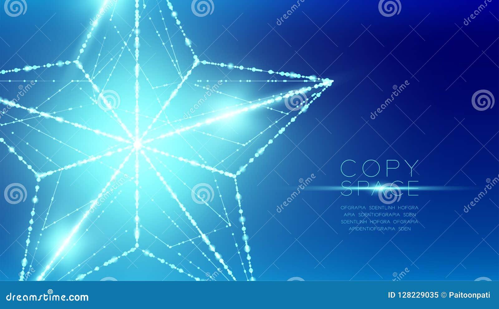 Estructura del marco de la luz del bokeh del polígono del wireframe de la estrella de la Navidad y