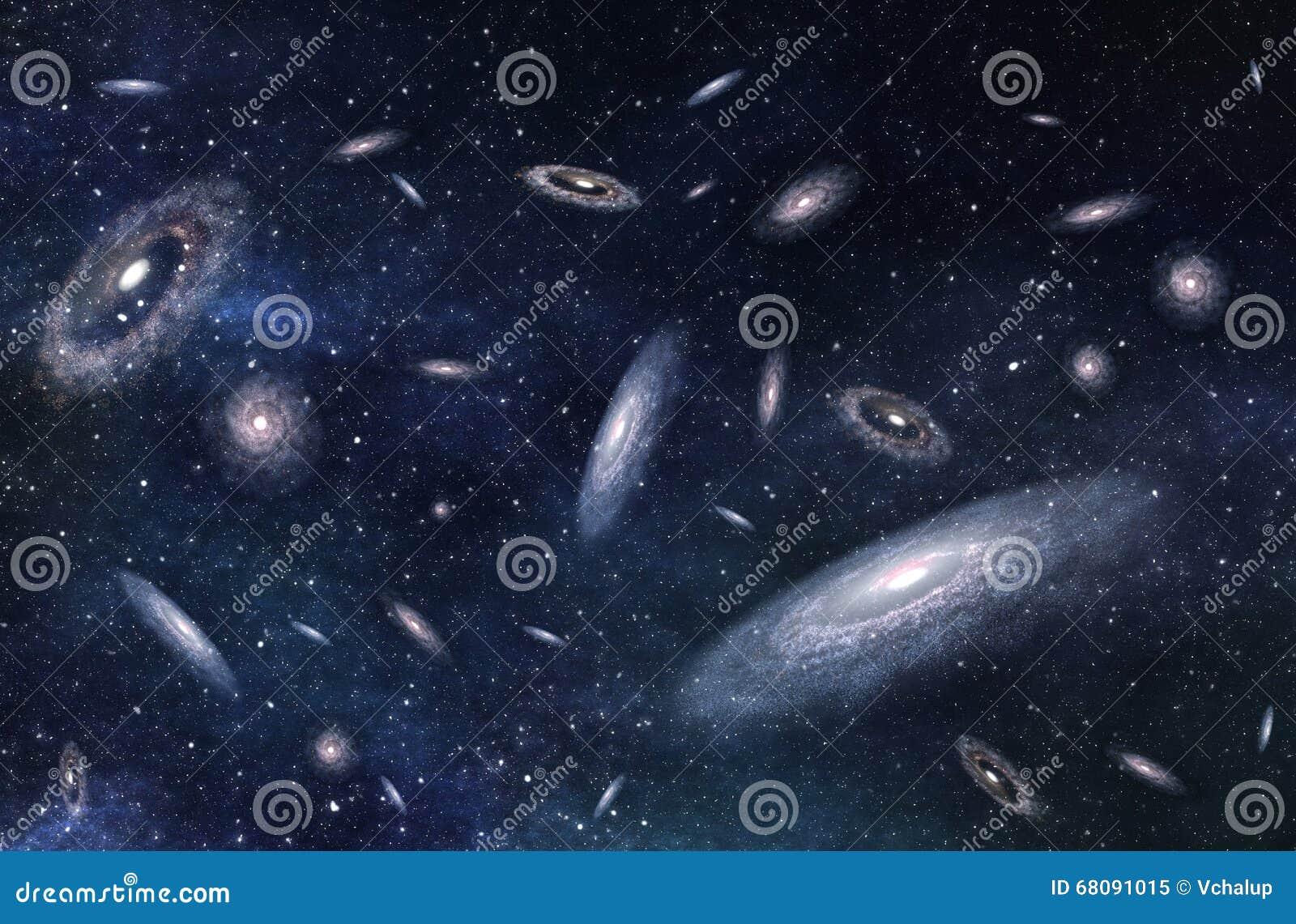 Estructura en grande de galaxias múltiples en universo profundo ilustración 3D