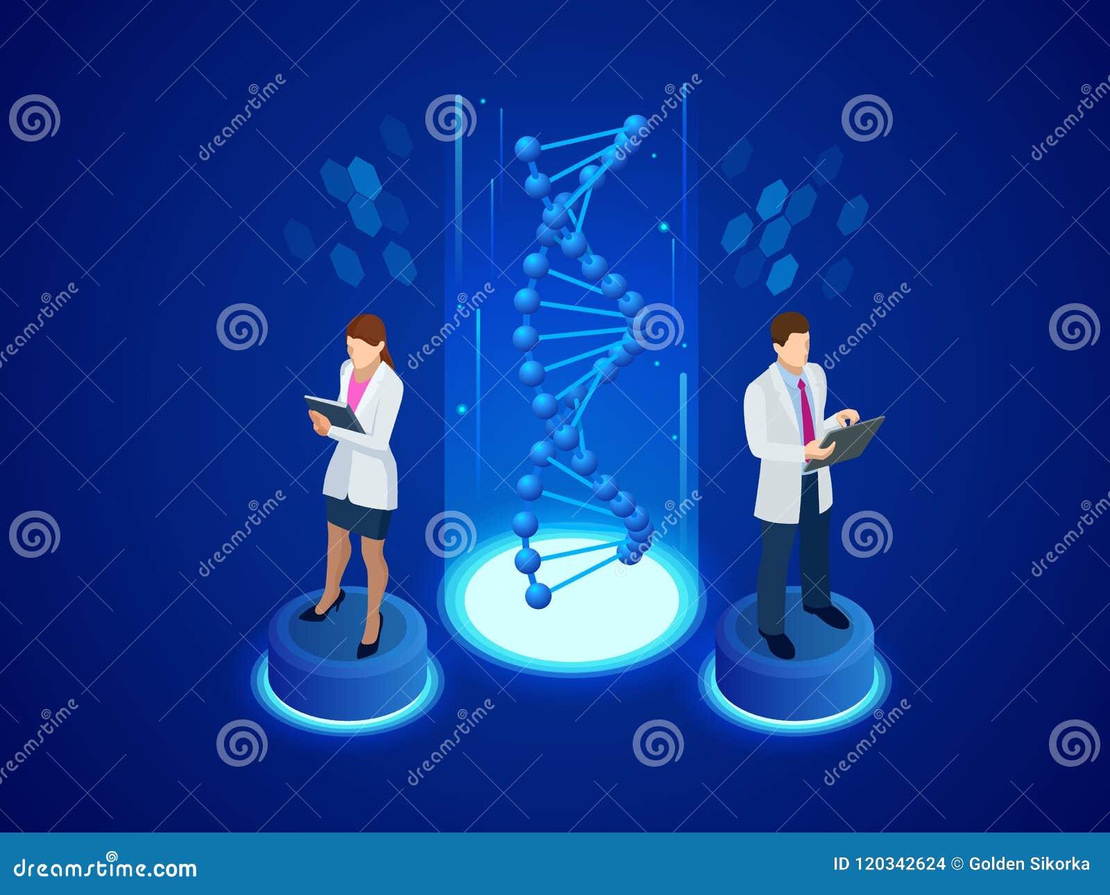 Estructura isométrica de la DNA de Digitaces en fondo azul Concepto de la ciencia Secuencia de la DNA, ejemplo del vector de la n
