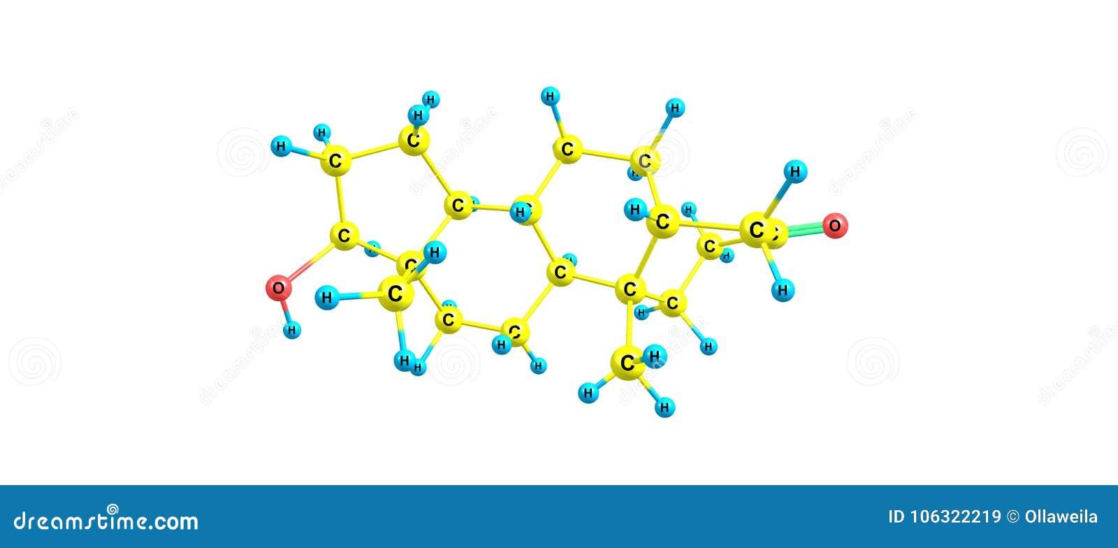 Estructura Molecular De Dihydrotestosterone Aislada En