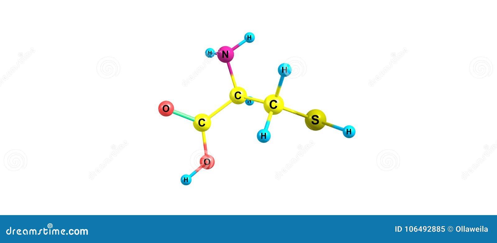 Estructura Molecular De La Cisteína Aislada En Blanco Stock