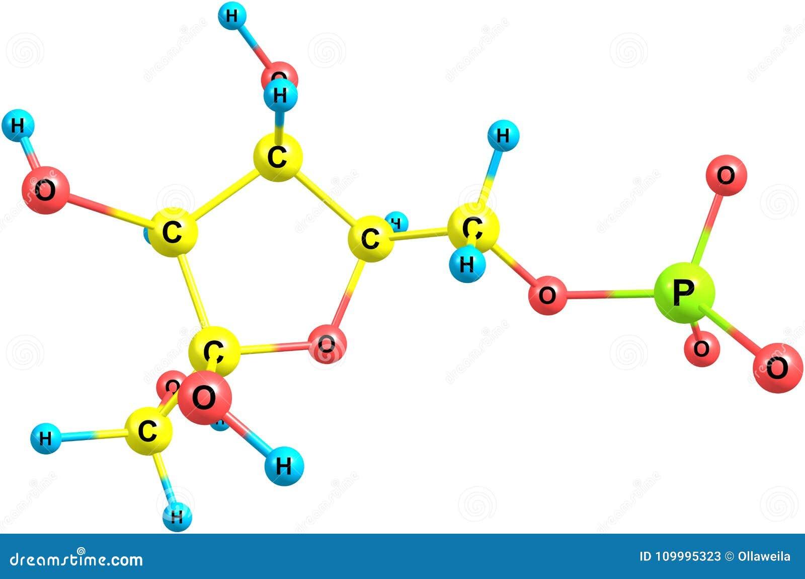 Estructura Molecular De La Fructosa En El Fondo Blanco Stock