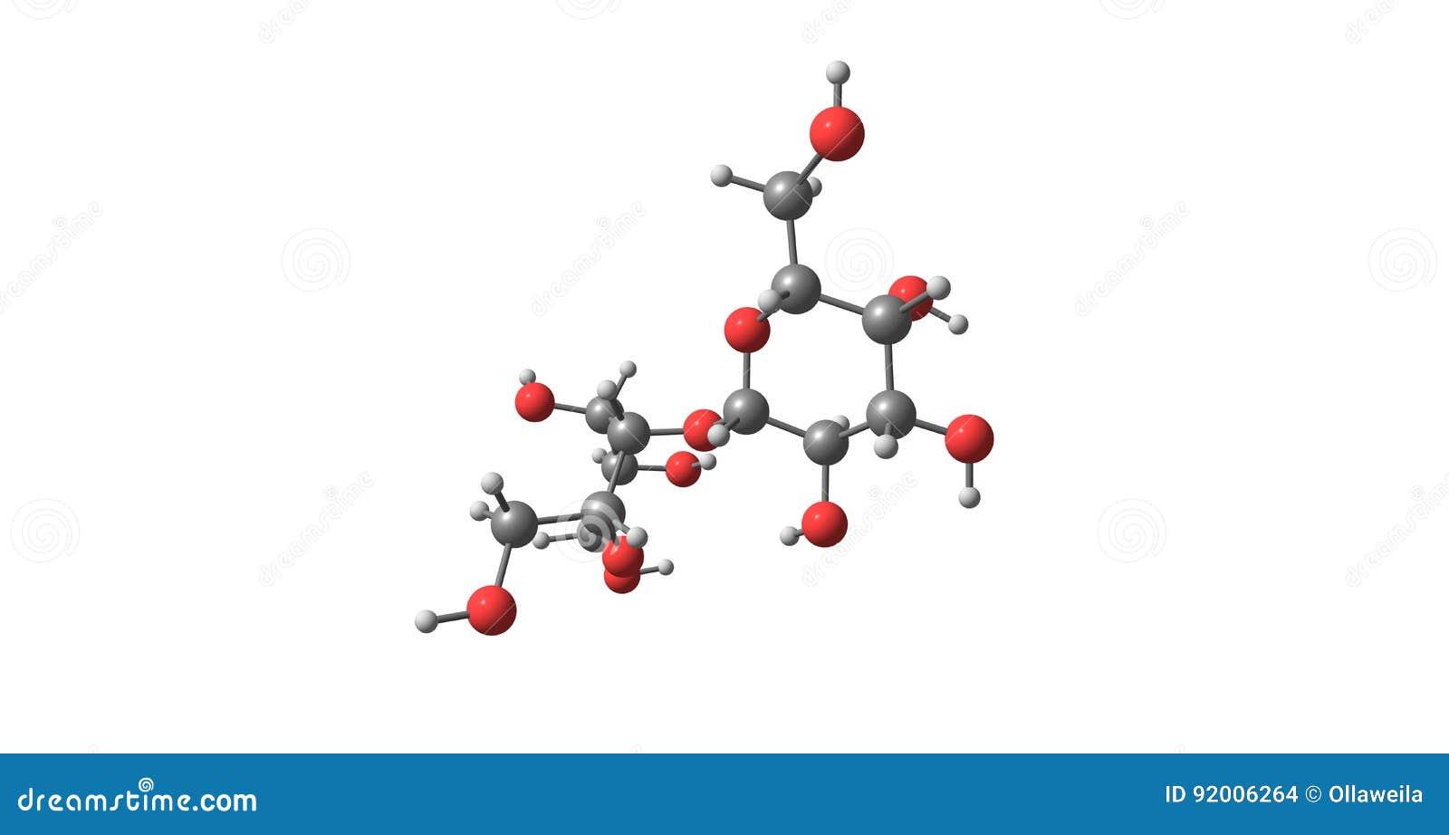Estructura Molecular De La Lactosa Aislada En Blanco Stock