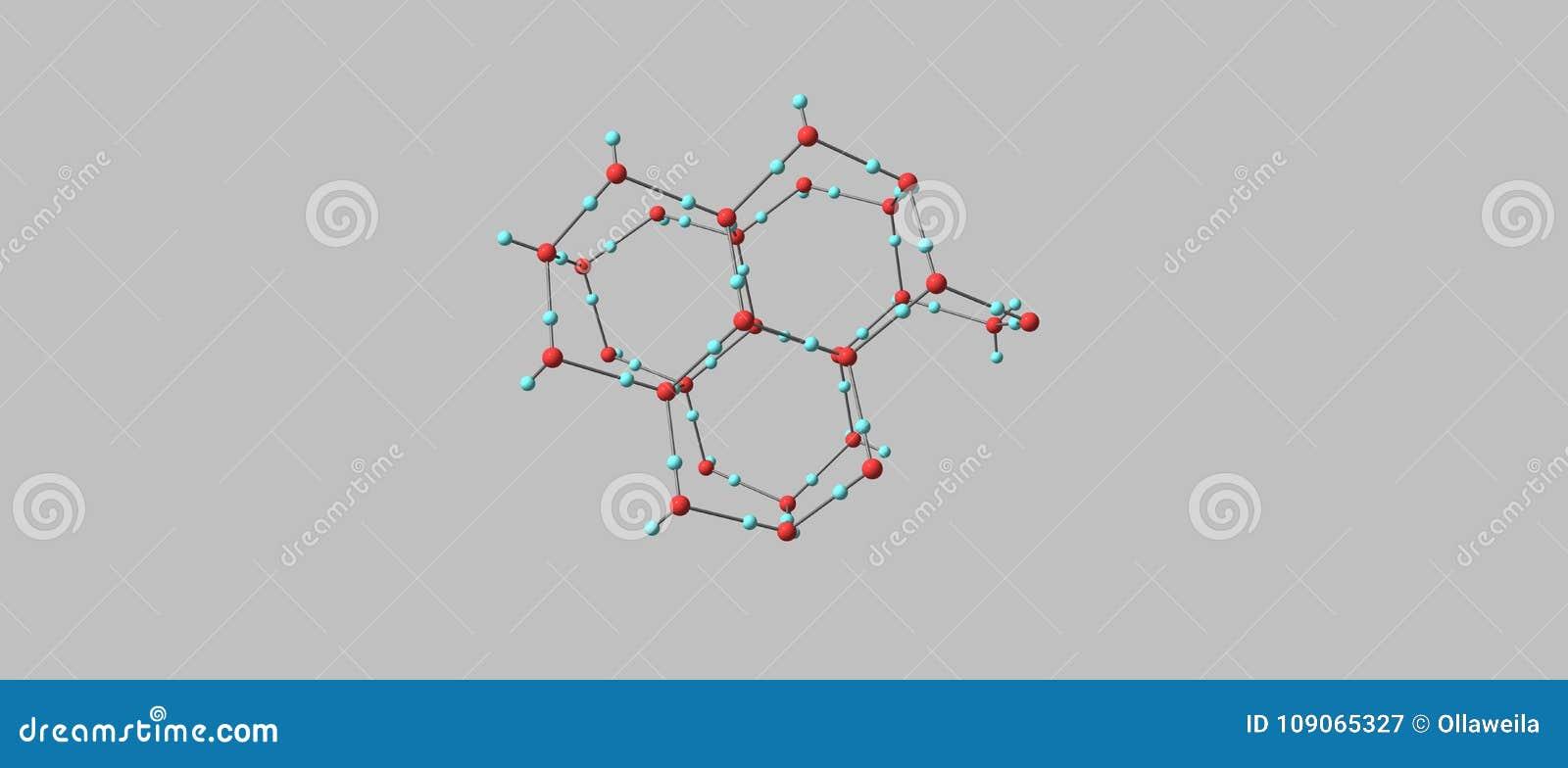 Estructura Molecular Del Hielo En Fondo Gris Stock De