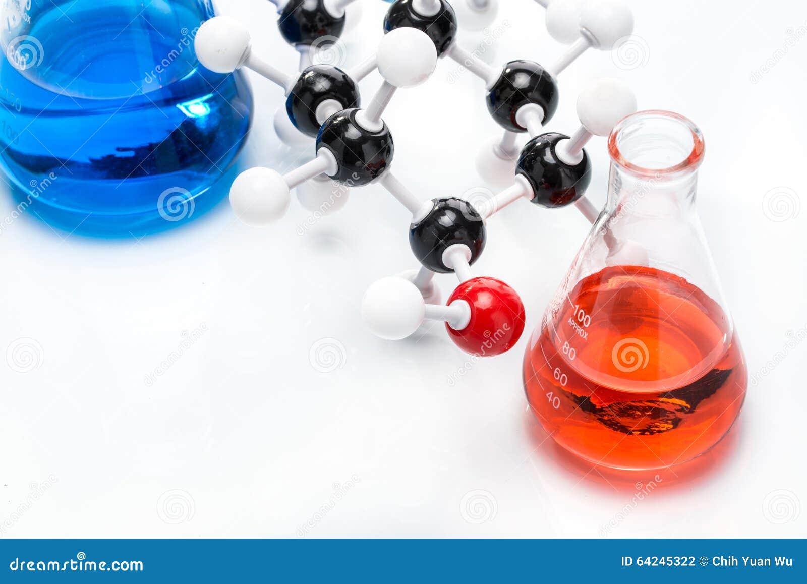 Estructura Molecular Y Líquido Colorido Foto De Archivo