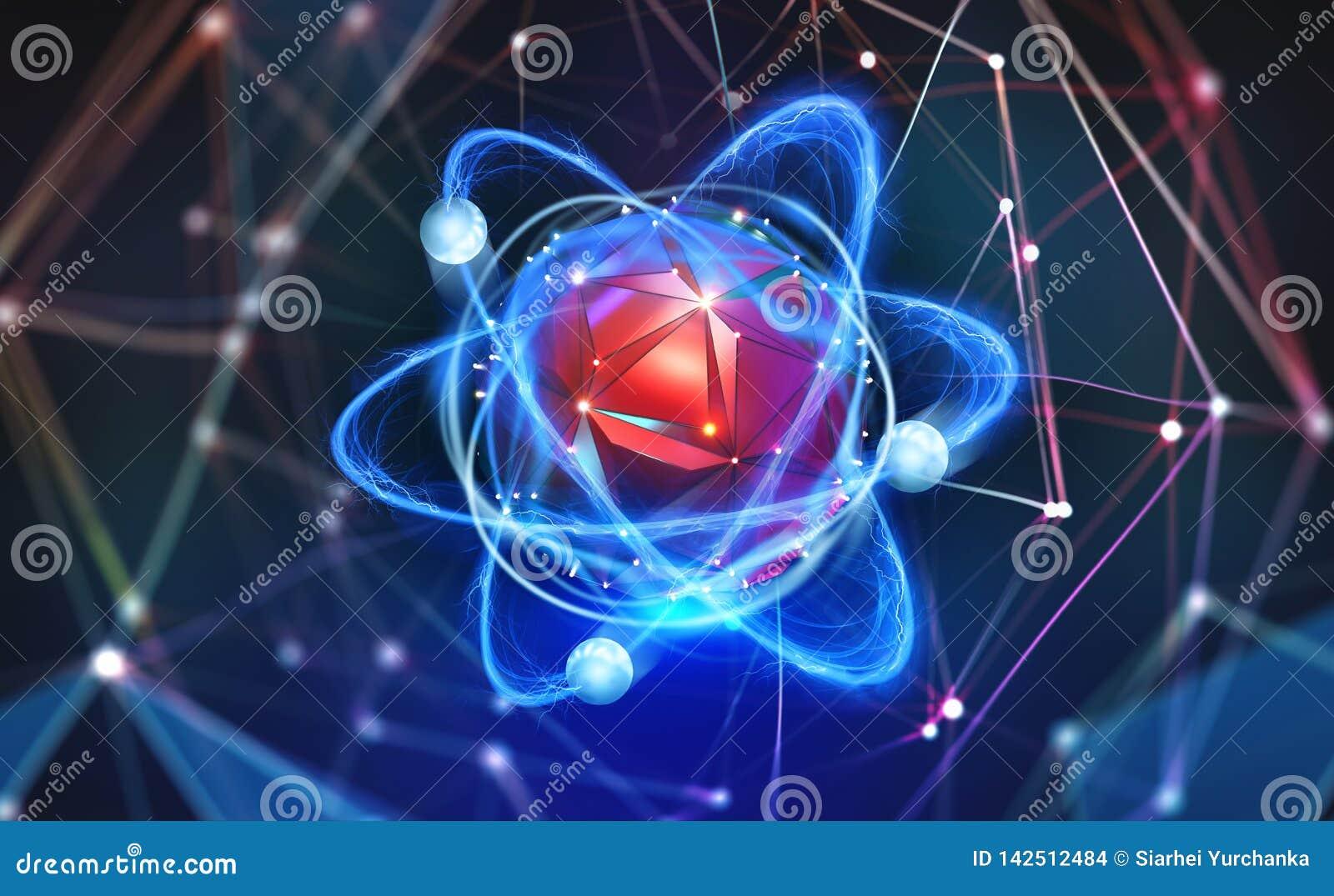 Estrutura Atômica Conceito Futurista Nanotecnologia Do