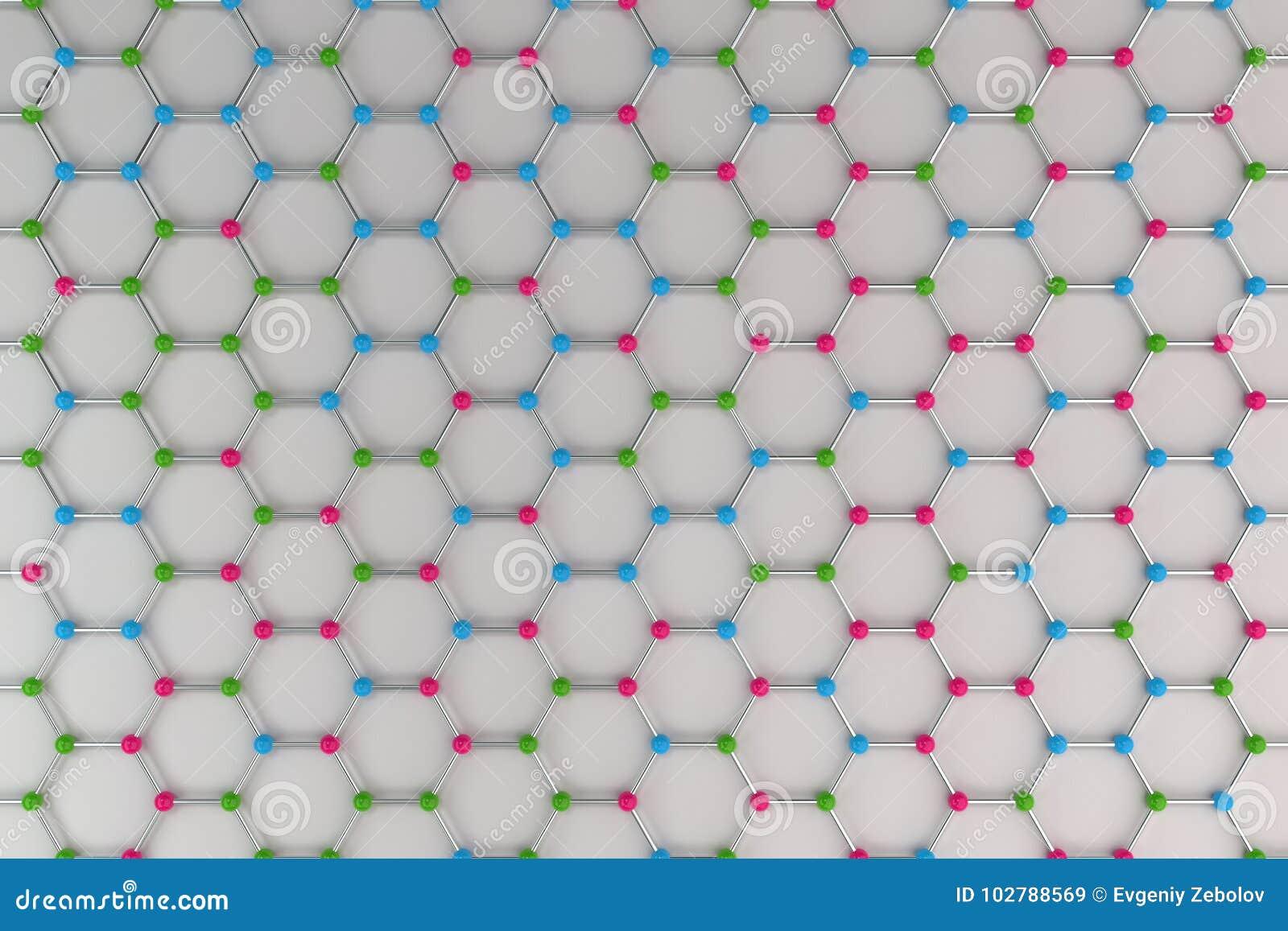 Estrutura Atômica De Graphene No Fundo Branco Ilustração