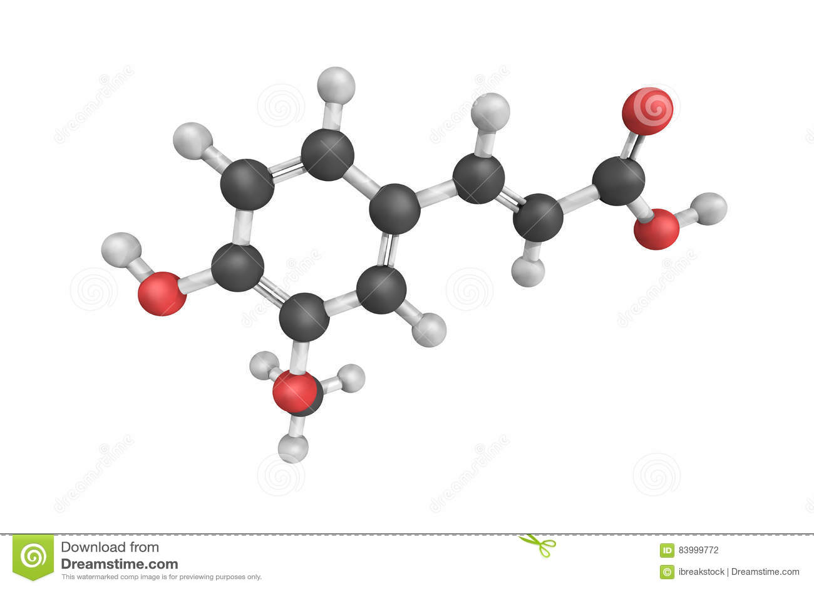 Estrutura 3d do ácido Ferulic, de um ácido hydroxycinnamic e de um tipo