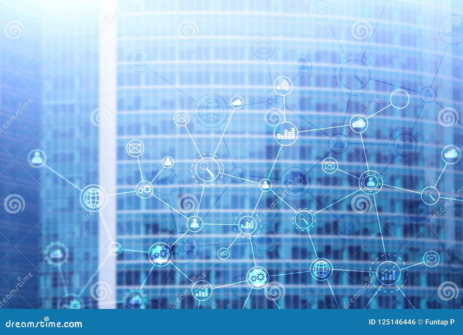 Estrutura de organização de negócios da exposição dobro no fundo borrado