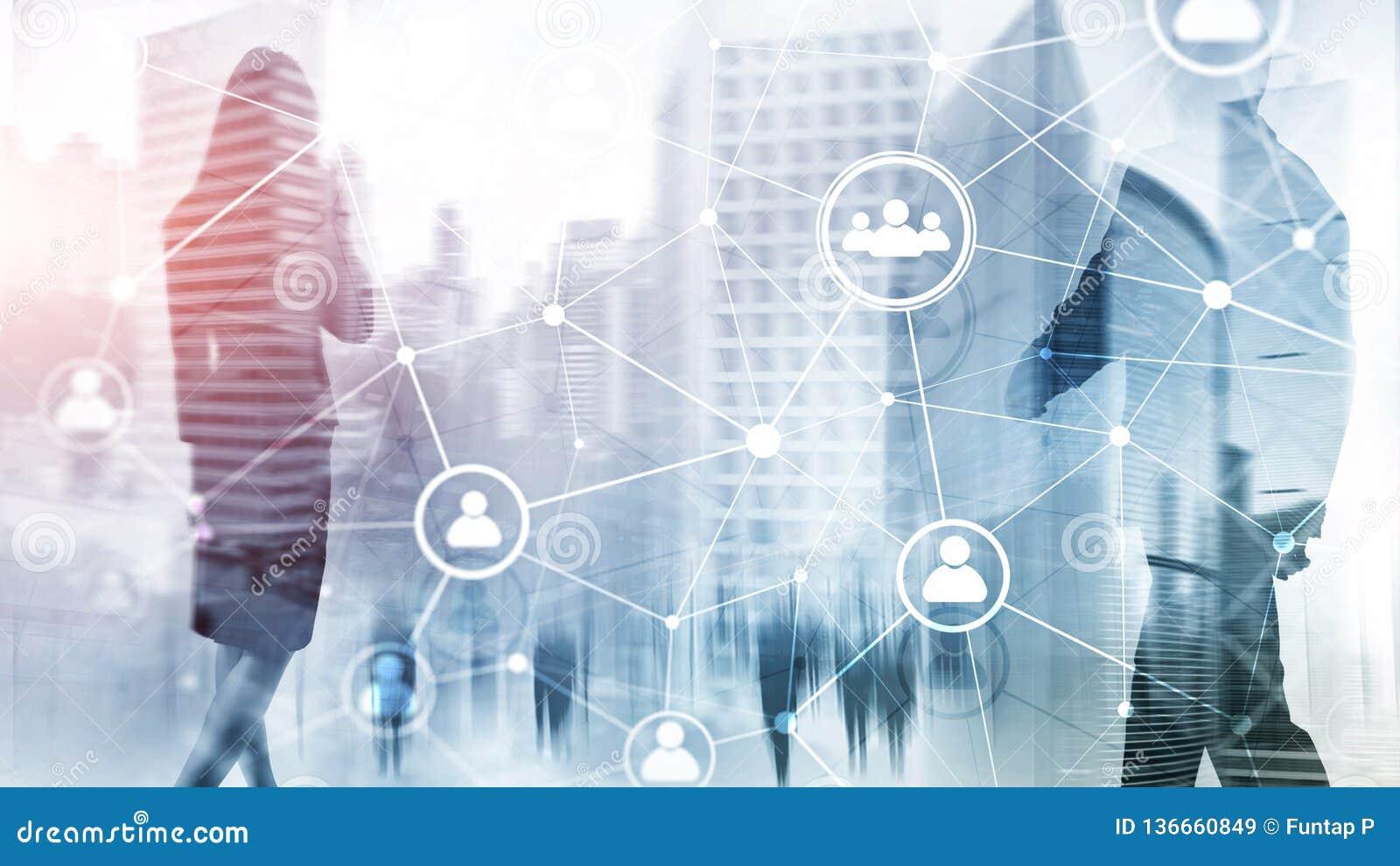 Estrutura de rede hora dos povos da exposição dobro - gestão de recursos humanos e conceito do recrutamento