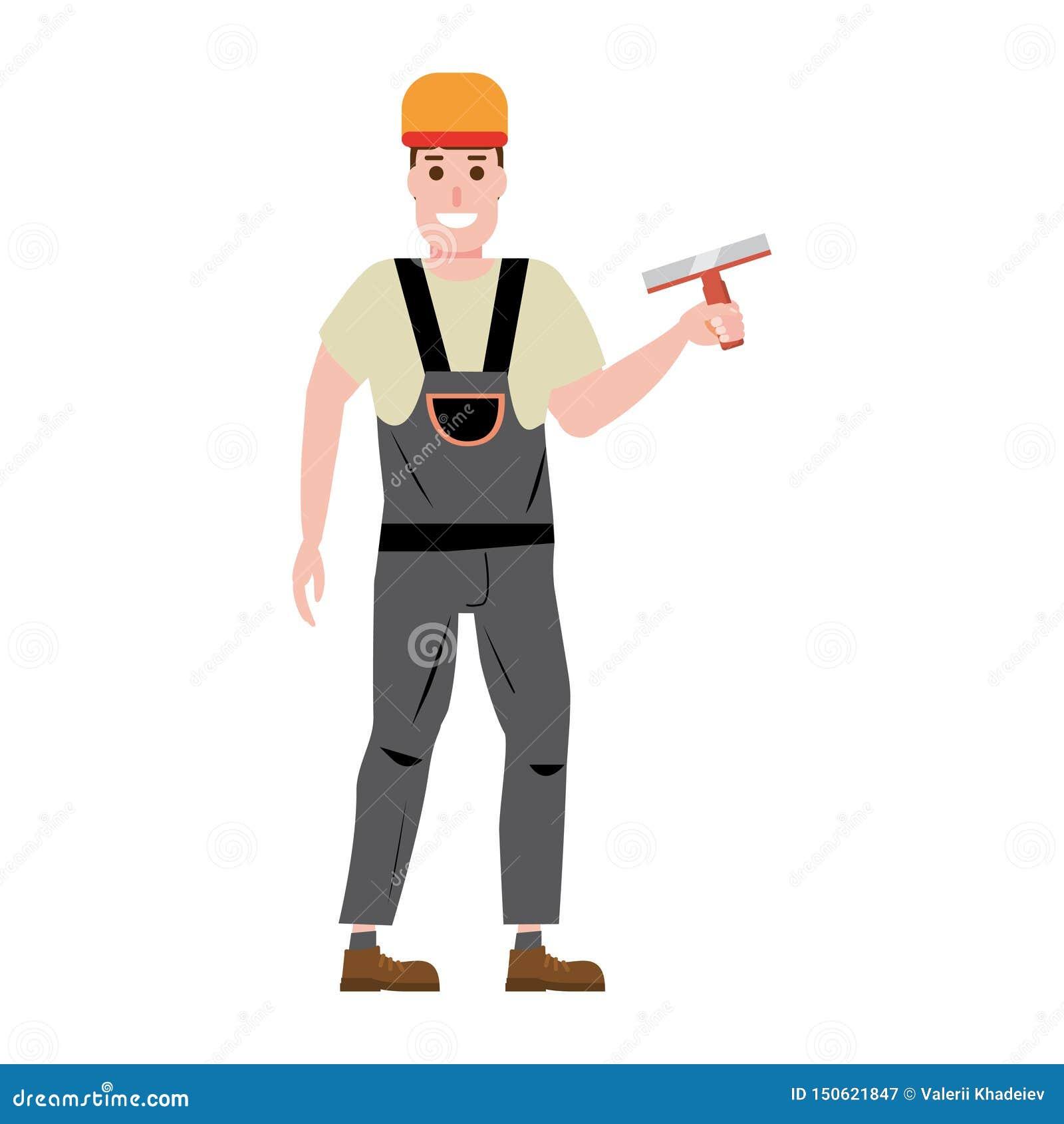 Estucador de emplastro mestre da parede, profissão, caráter, uniforme, faca de massa de vidraceiro da ferramenta Ilustração do ve