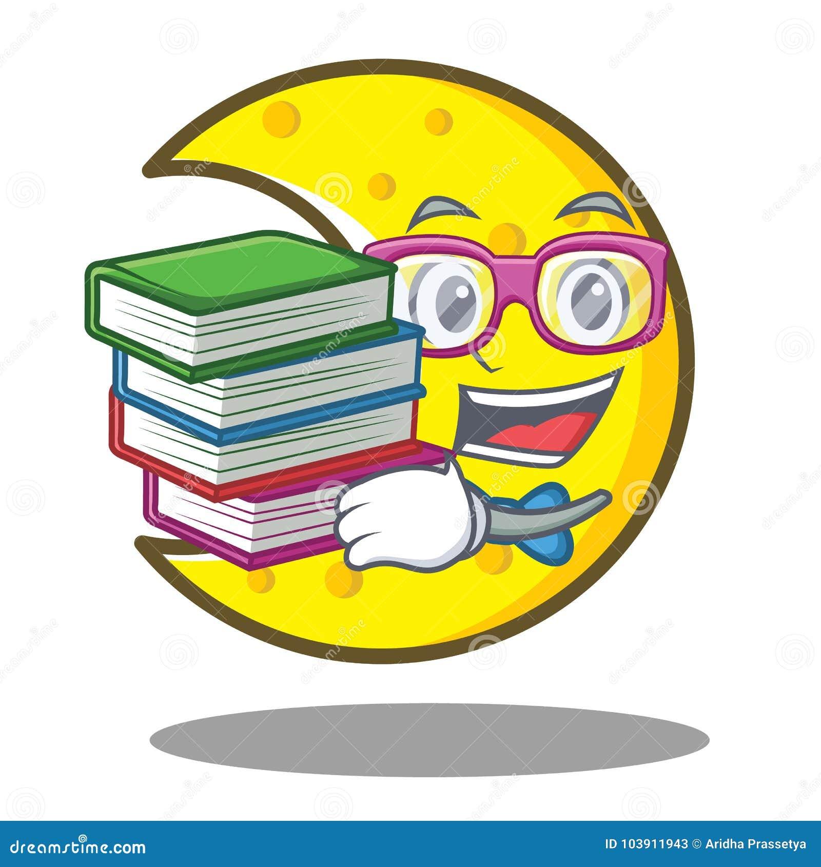 Estudante com desenhos animados crescentes do caráter da lua do livro