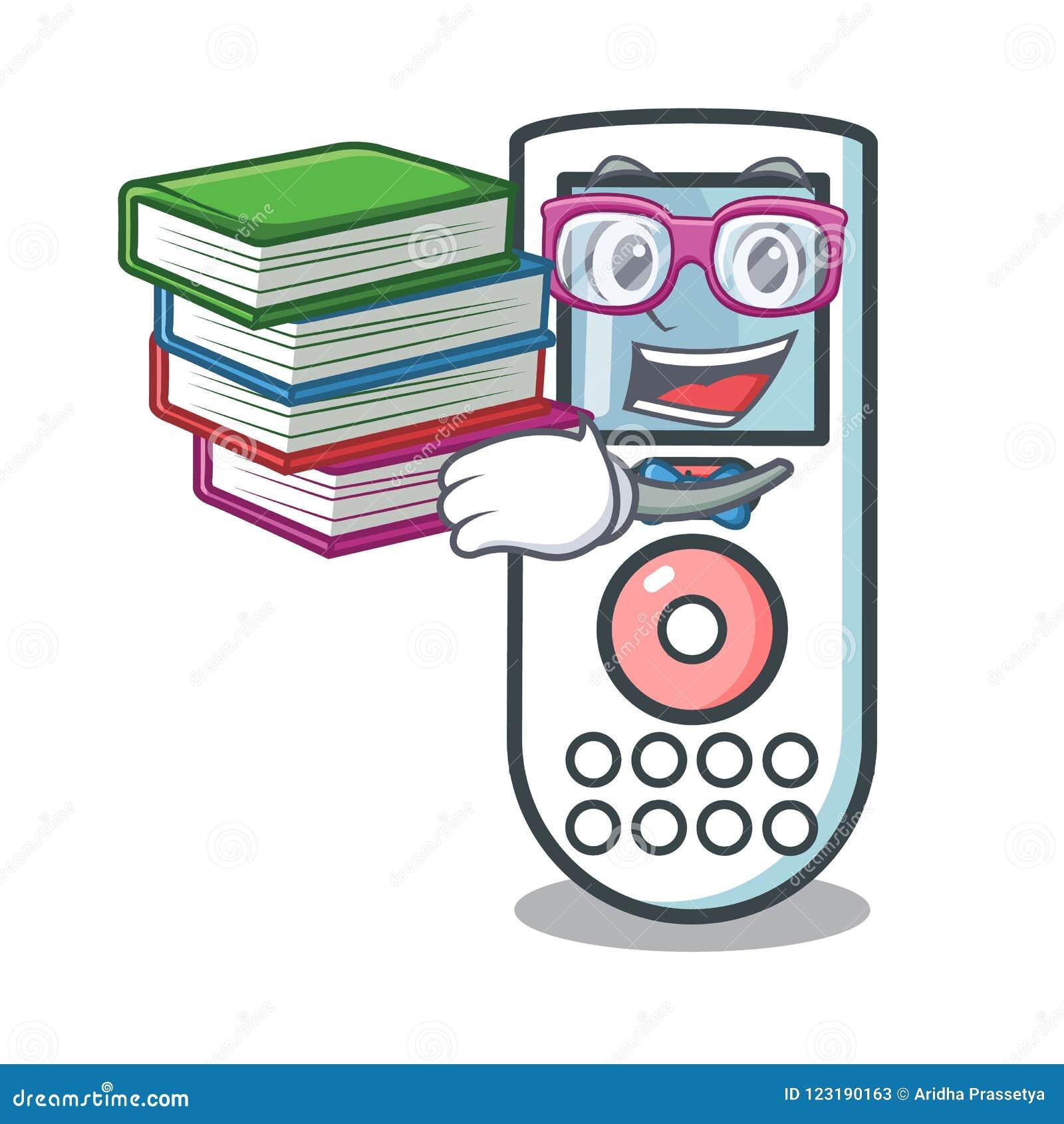 Estudante com desenhos animados de controle remoto da mascote do livro