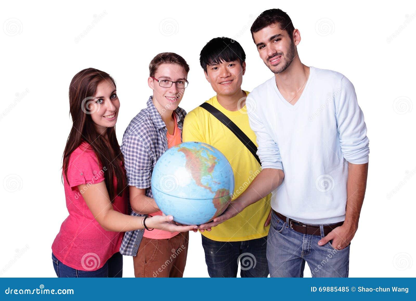 Estudante de troca feliz