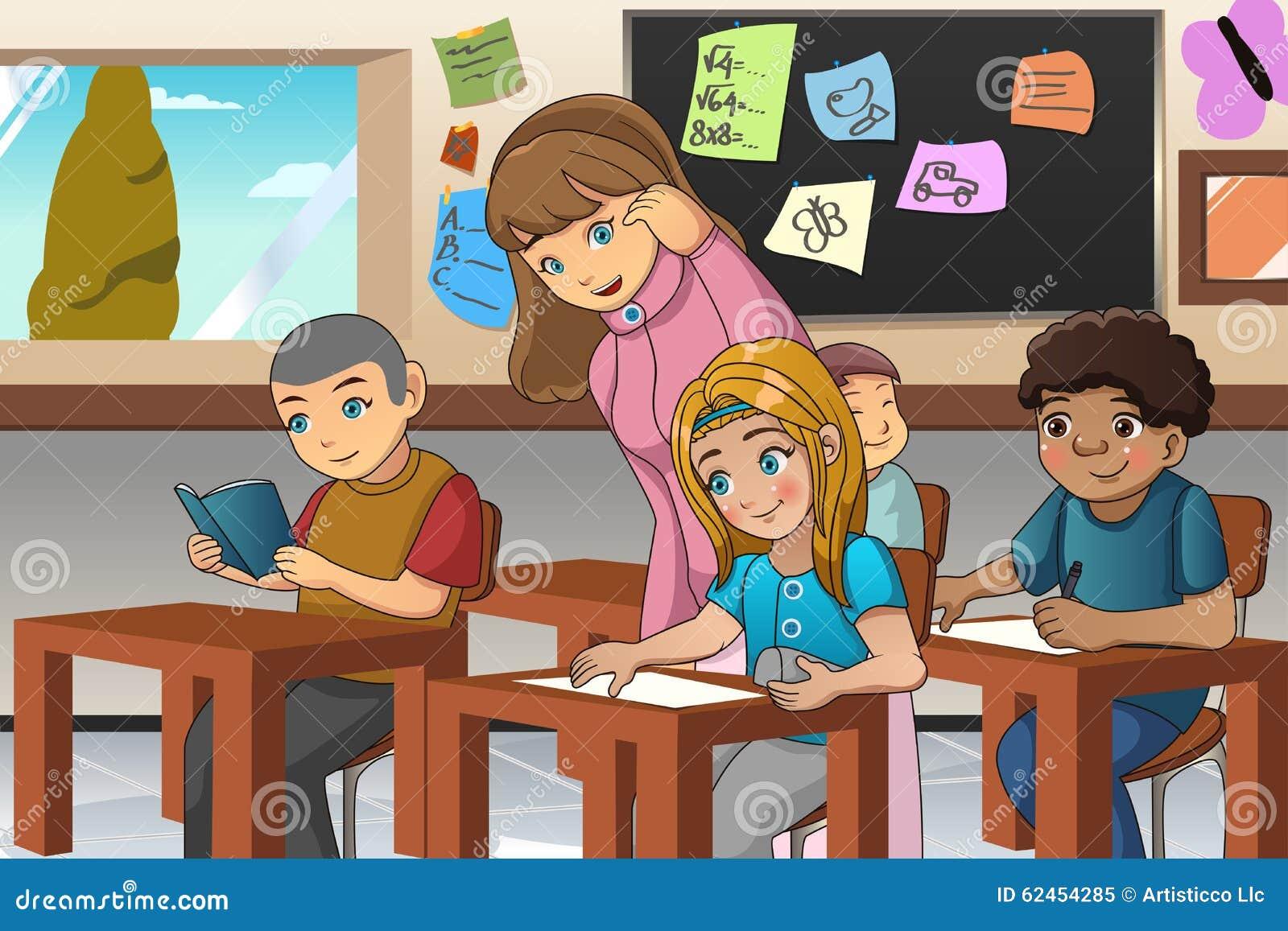 Estudante e professor na sala de aula
