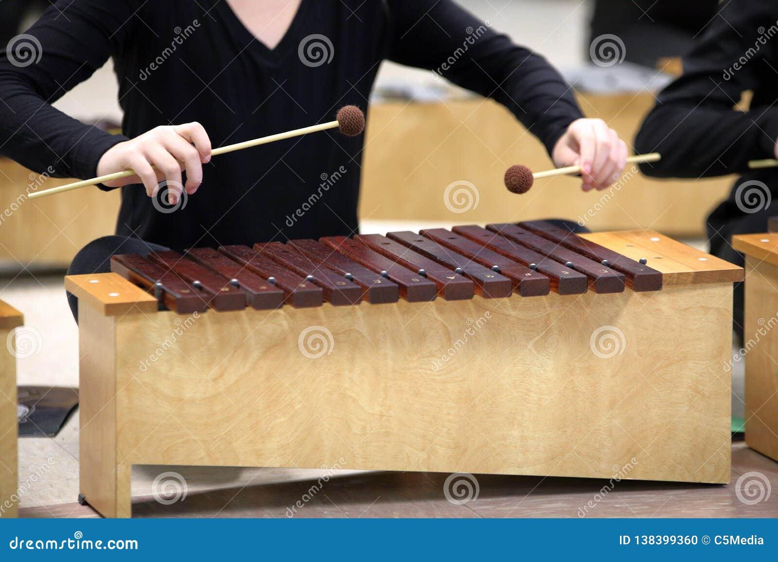 Estudante que joga o xilofone Diatonic com malhos
