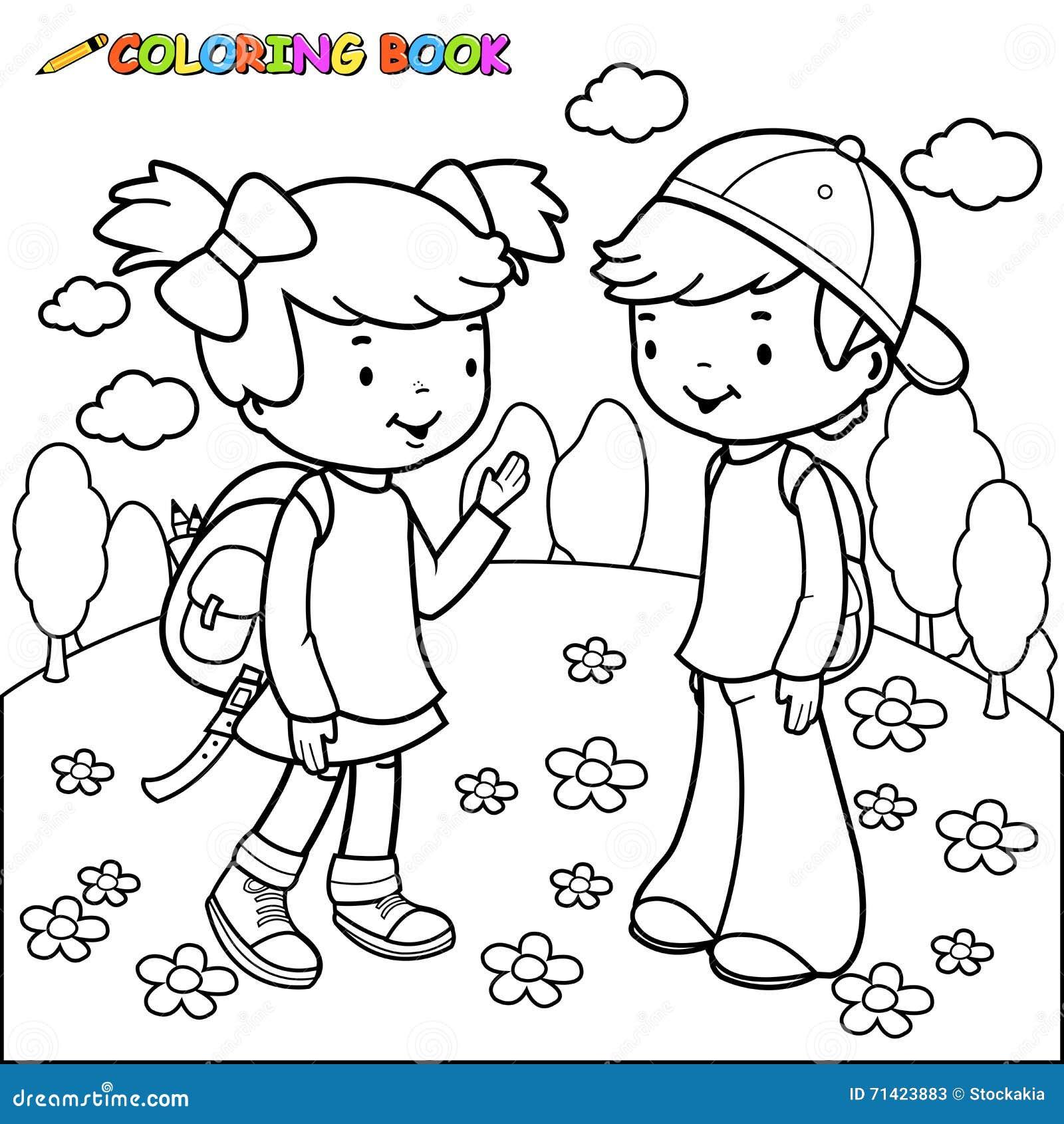 Estudantes Da Menina E Do Menino Do Livro Para Colorir Ilustracao