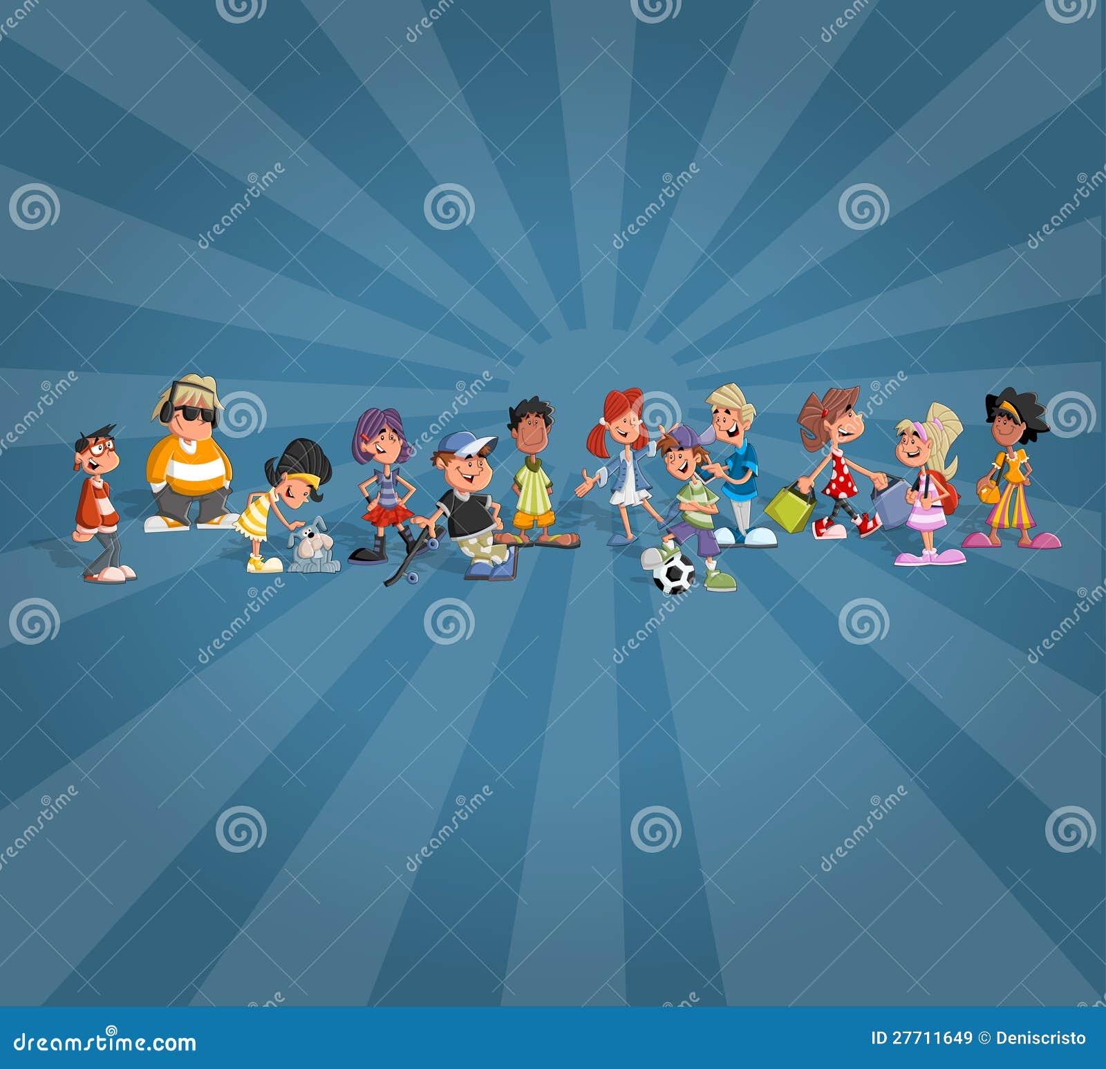 Estudantes dos desenhos animados do adolescente sobre o globo da terra imagens de stock royalty - Oglo o ...
