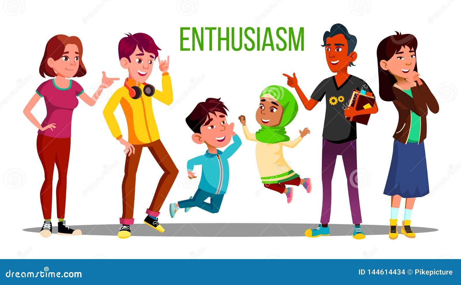 Estudantes multi-étnicos entusiásticos, adultos, caráteres do vetor das crianças
