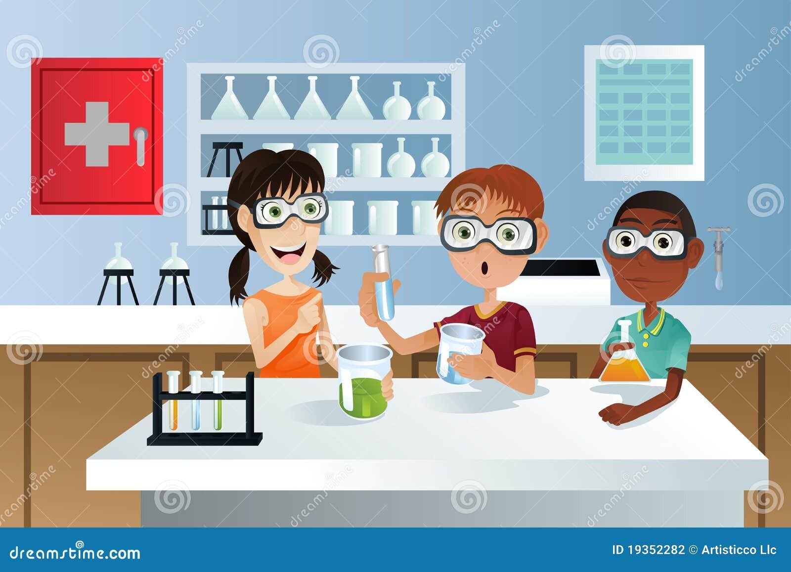 Estudantes no projeto da ciência