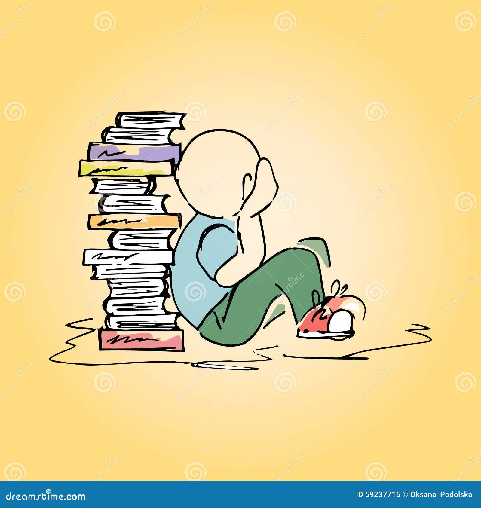 Estudiante del ejemplo en la biblioteca mano-dibujo
