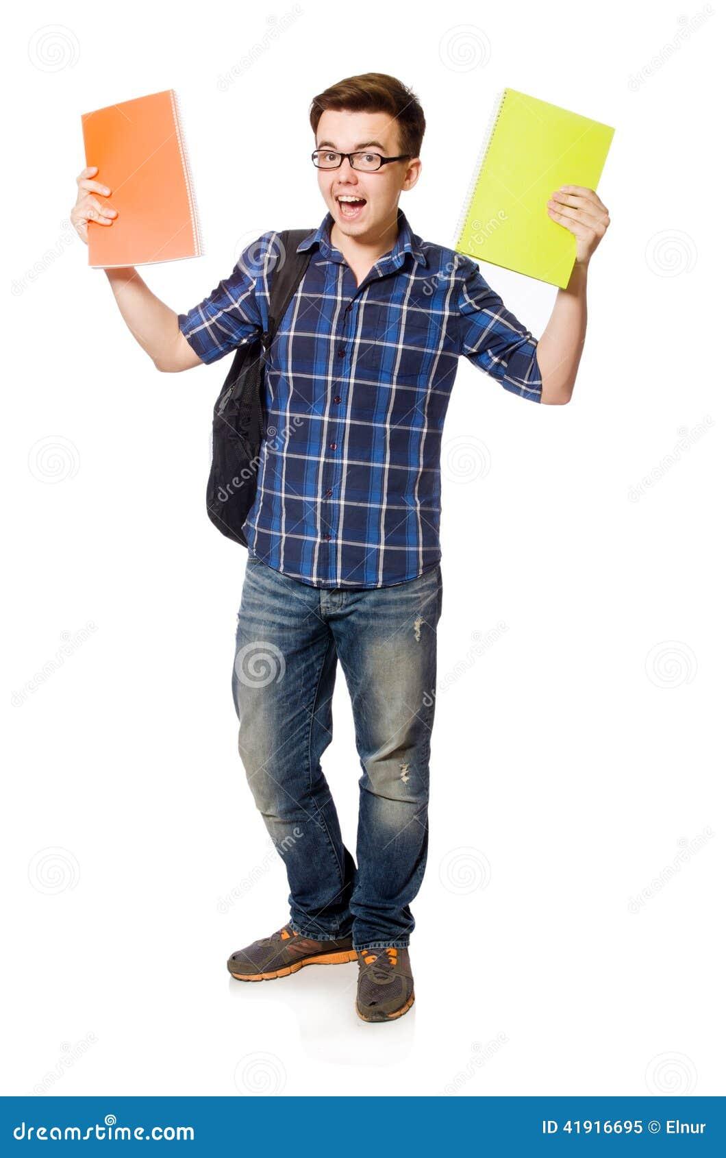 Estudiante divertido aislado