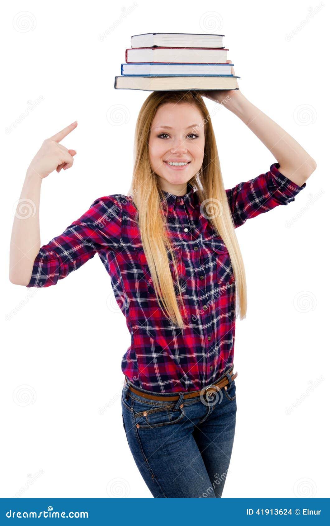 Estudiante divertido con la pila