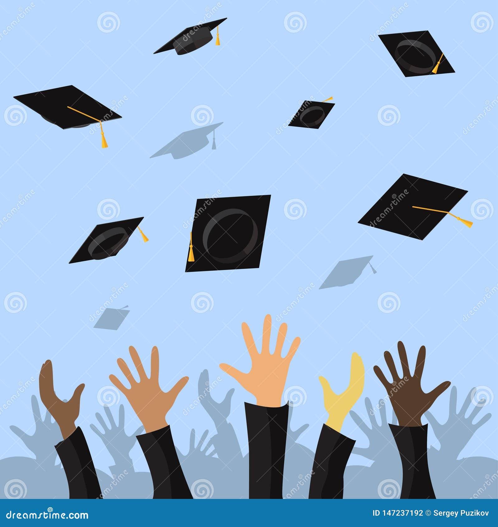 Estudiantes de graduación de las manos del alumno que lanzan los casquillos de la graduación en el ejemplo plano del vector del a
