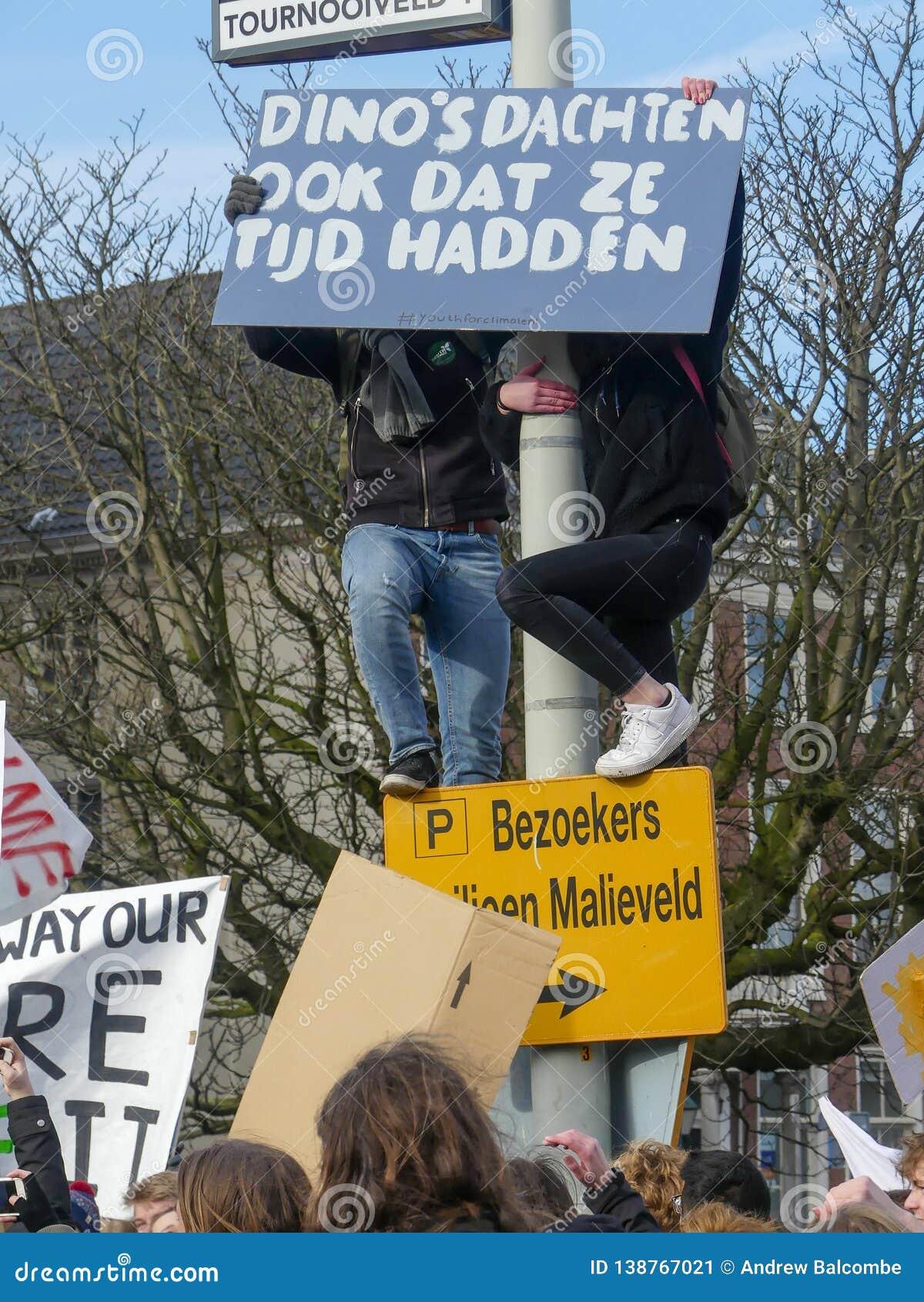 Estudiantes en la protesta anti del cambio de clima en La Haya con las banderas que caminan a través de la ciudad