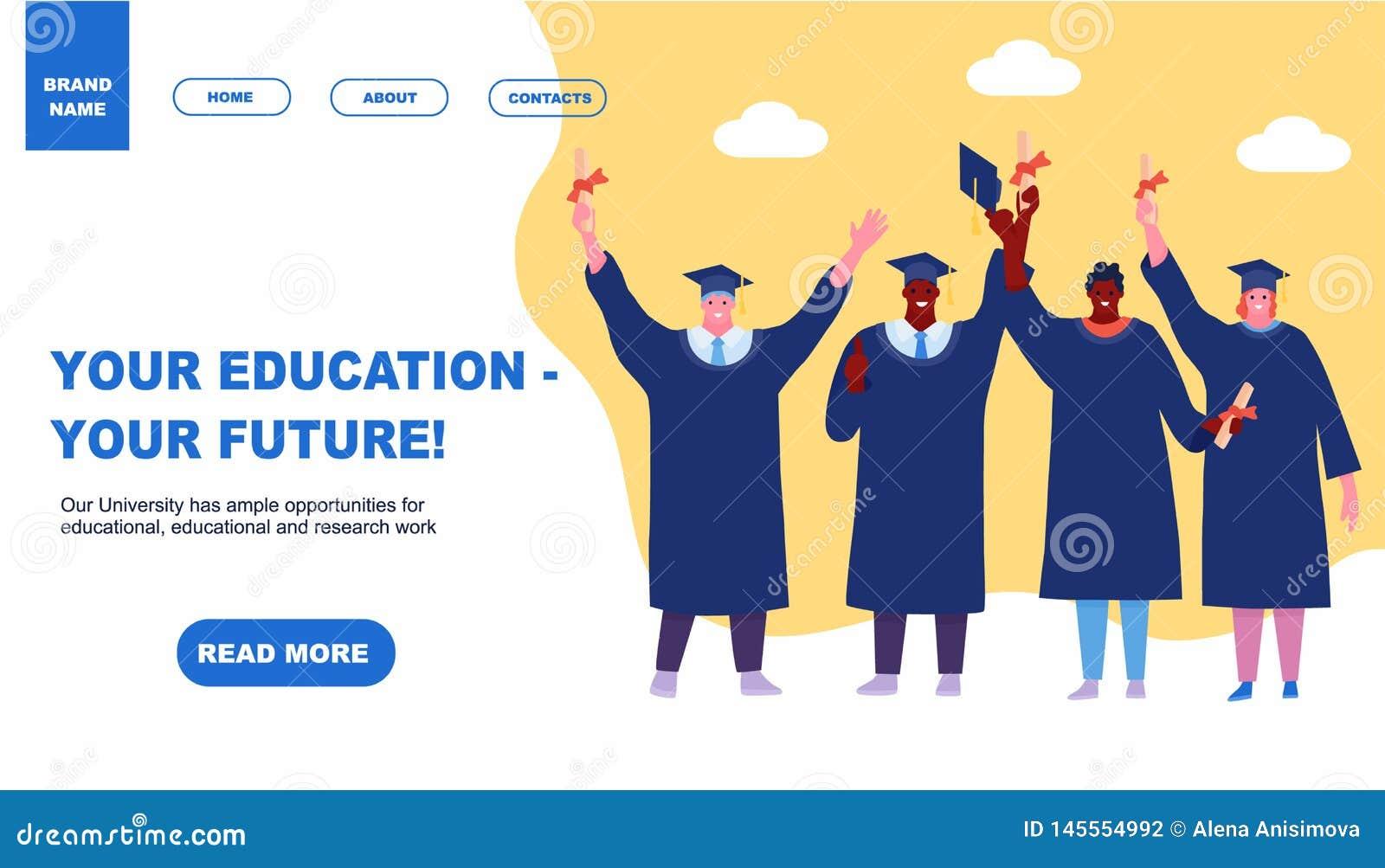 Estudiantes felices de graduaci?n que aterrizan estilo plano del dise?o de la historieta del elemento del concepto de la educaci?