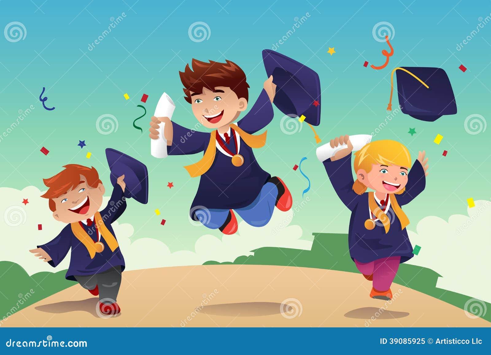 Estudiantes Que Celebran La Graduación Ilustración Del