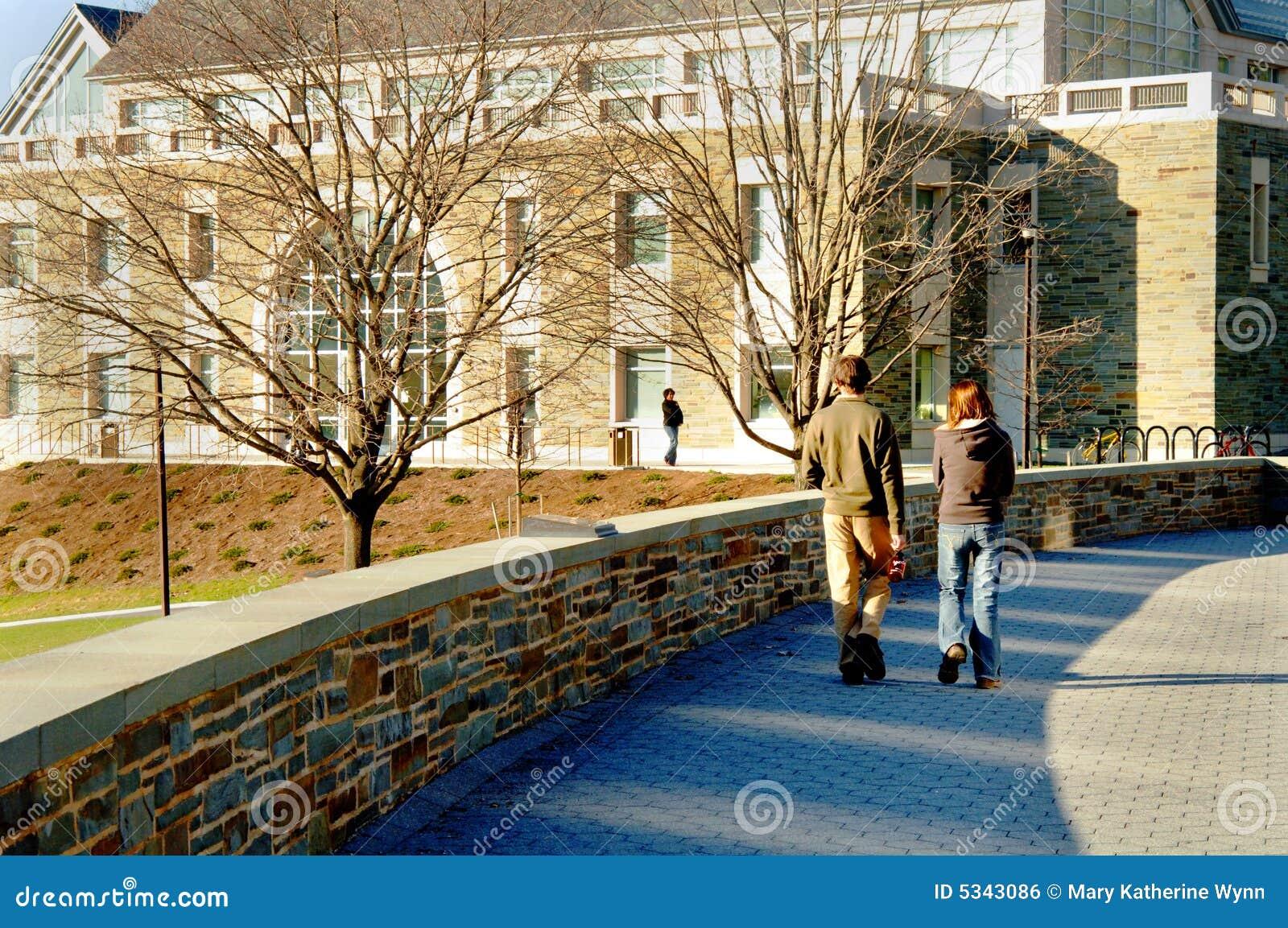 Estudiantes que recorren en campus