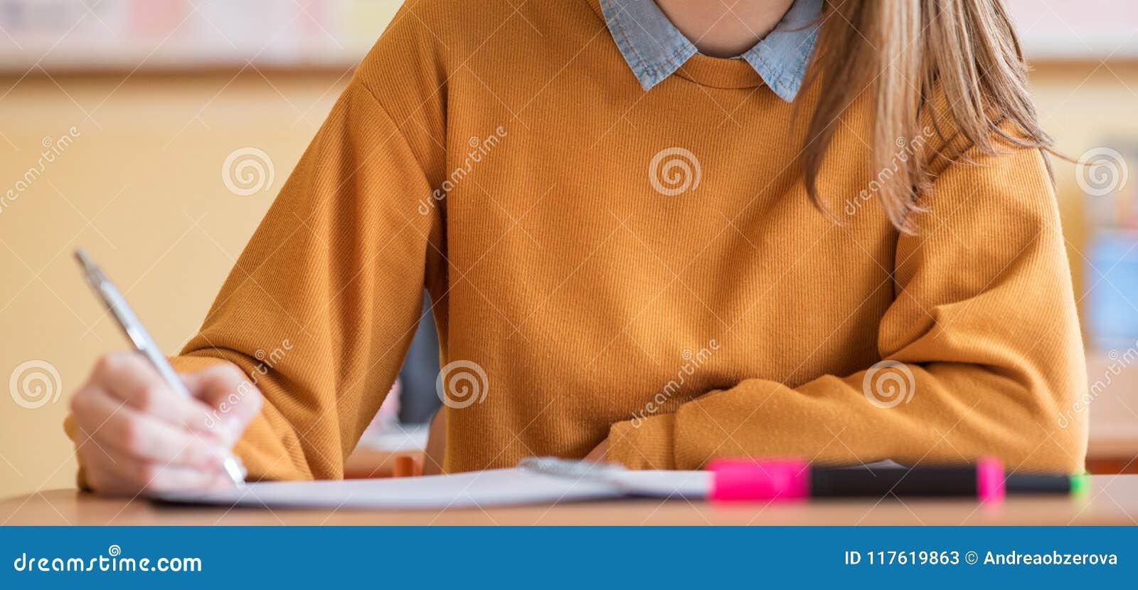 Estudiantes que toman el examen en sala de clase Prueba de la educación, concepto de los exámenes Bandera del Web