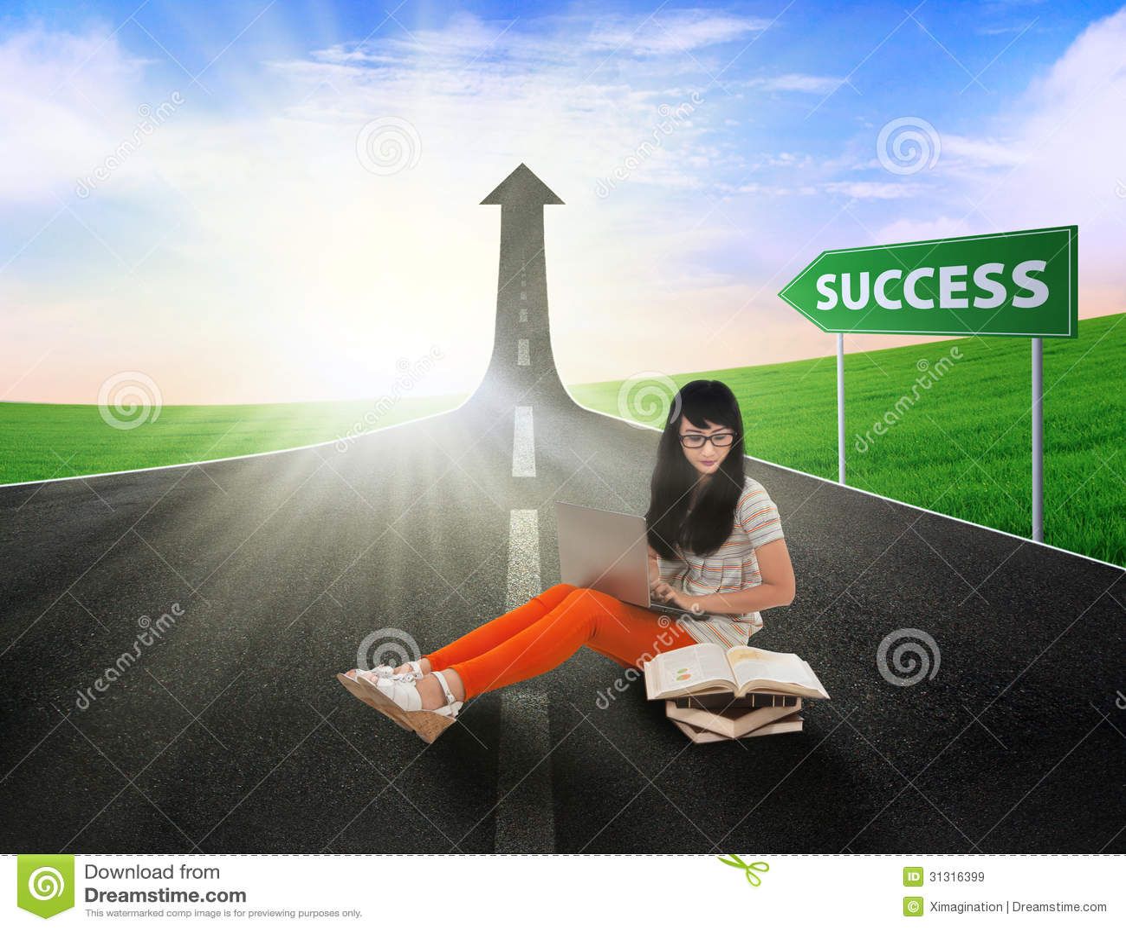 Estudio asiático del estudiante en el camino del éxito