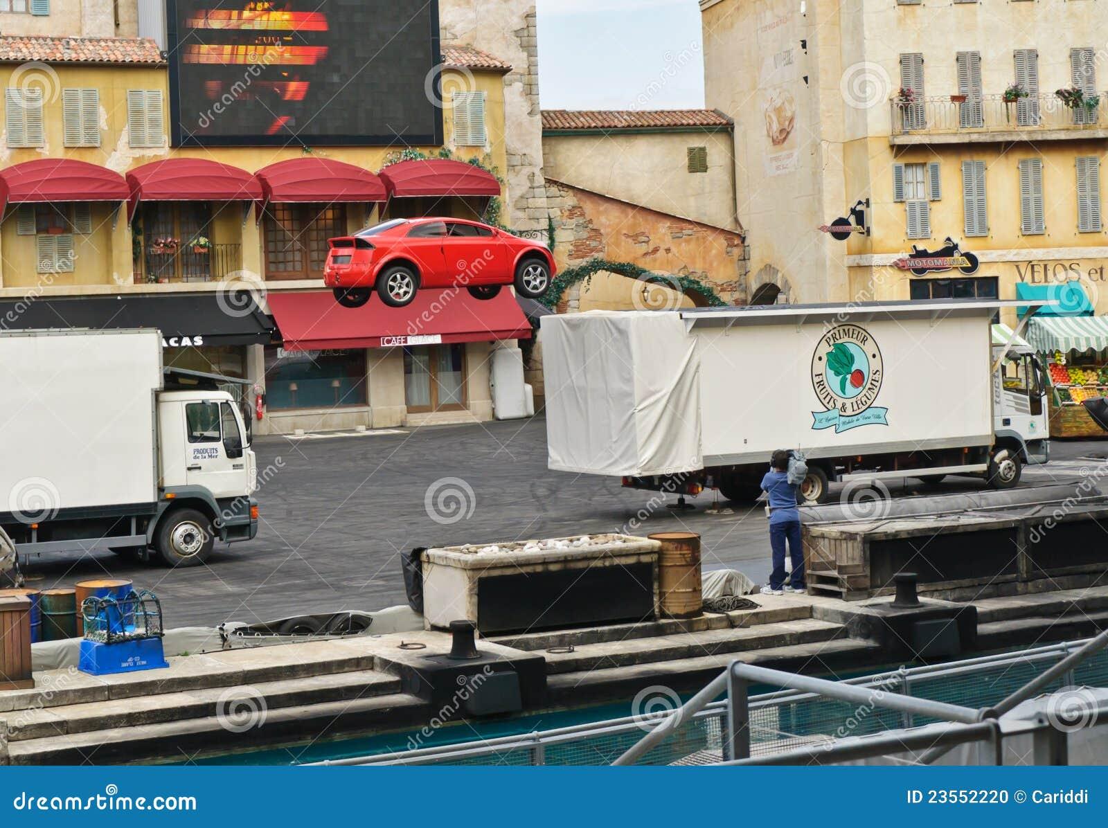Estudios de París - de Disney, salto del coche del truco