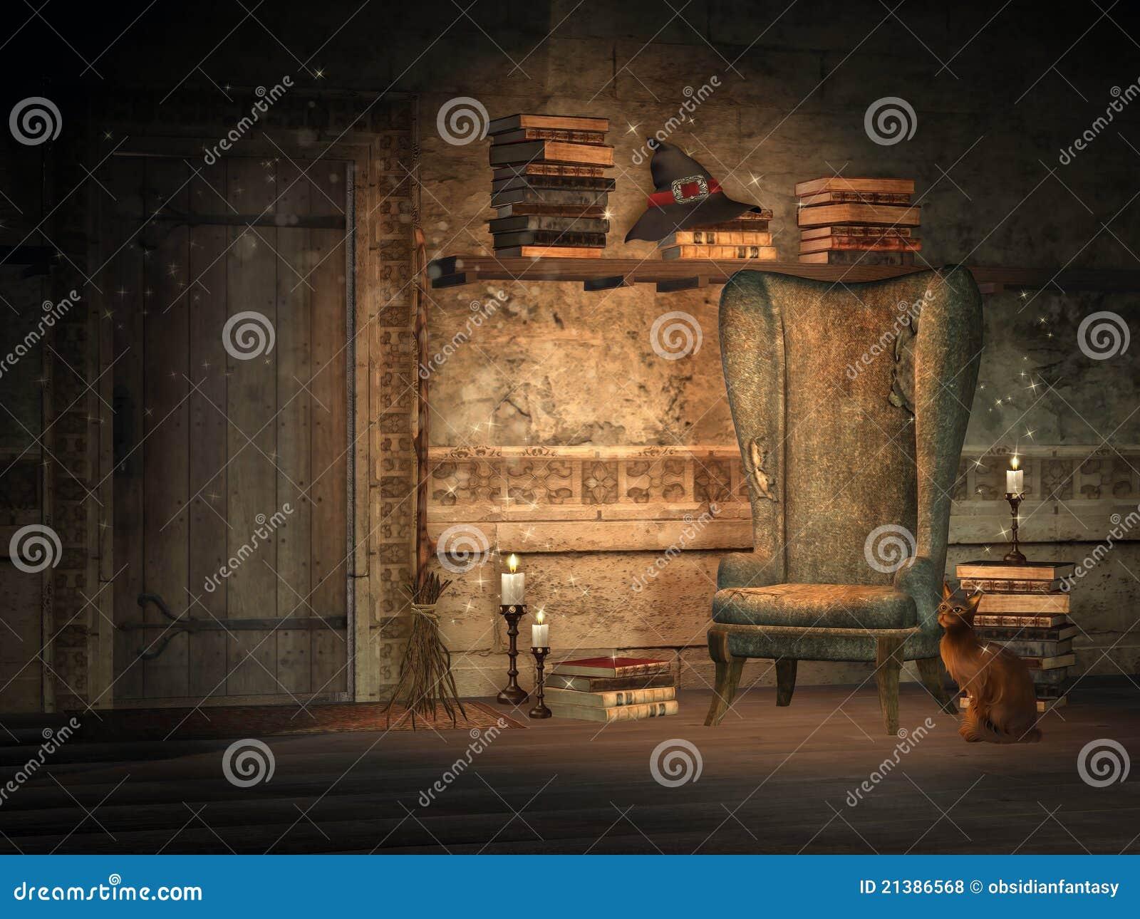Estudo da fantasia com livros mágicos