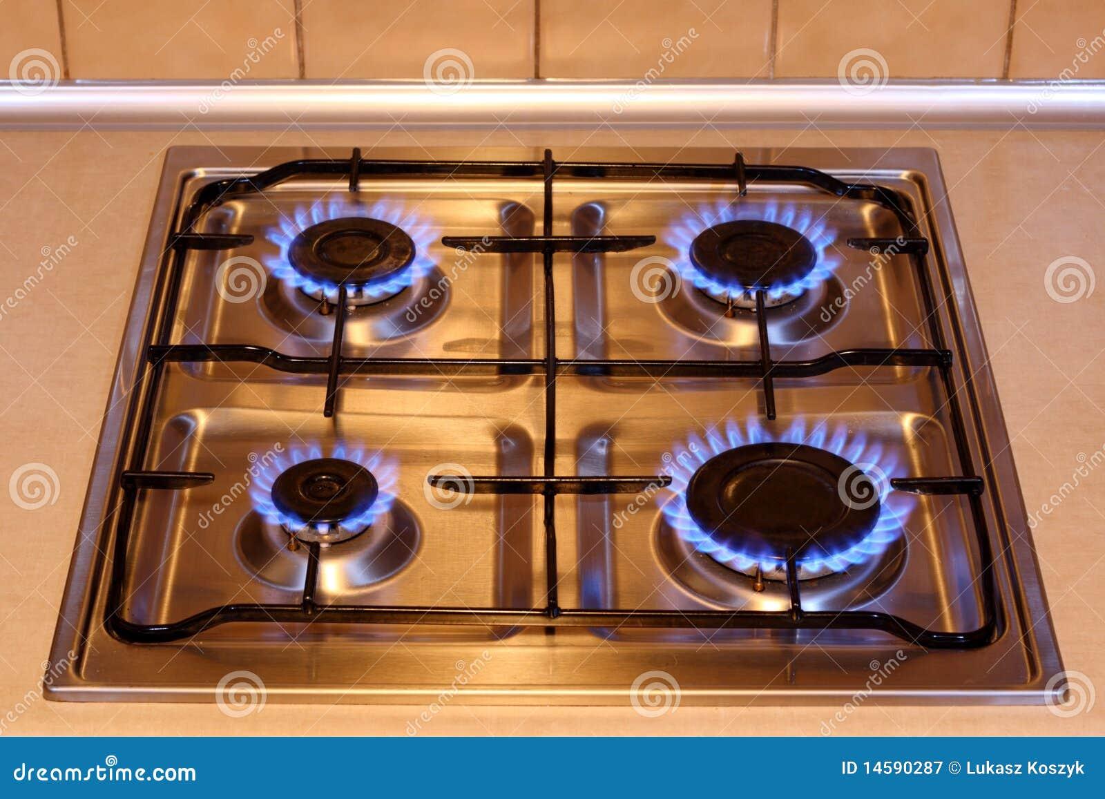 Estufa de gas de la cocina con las llamas del fuego for Estufas de cocina de gas