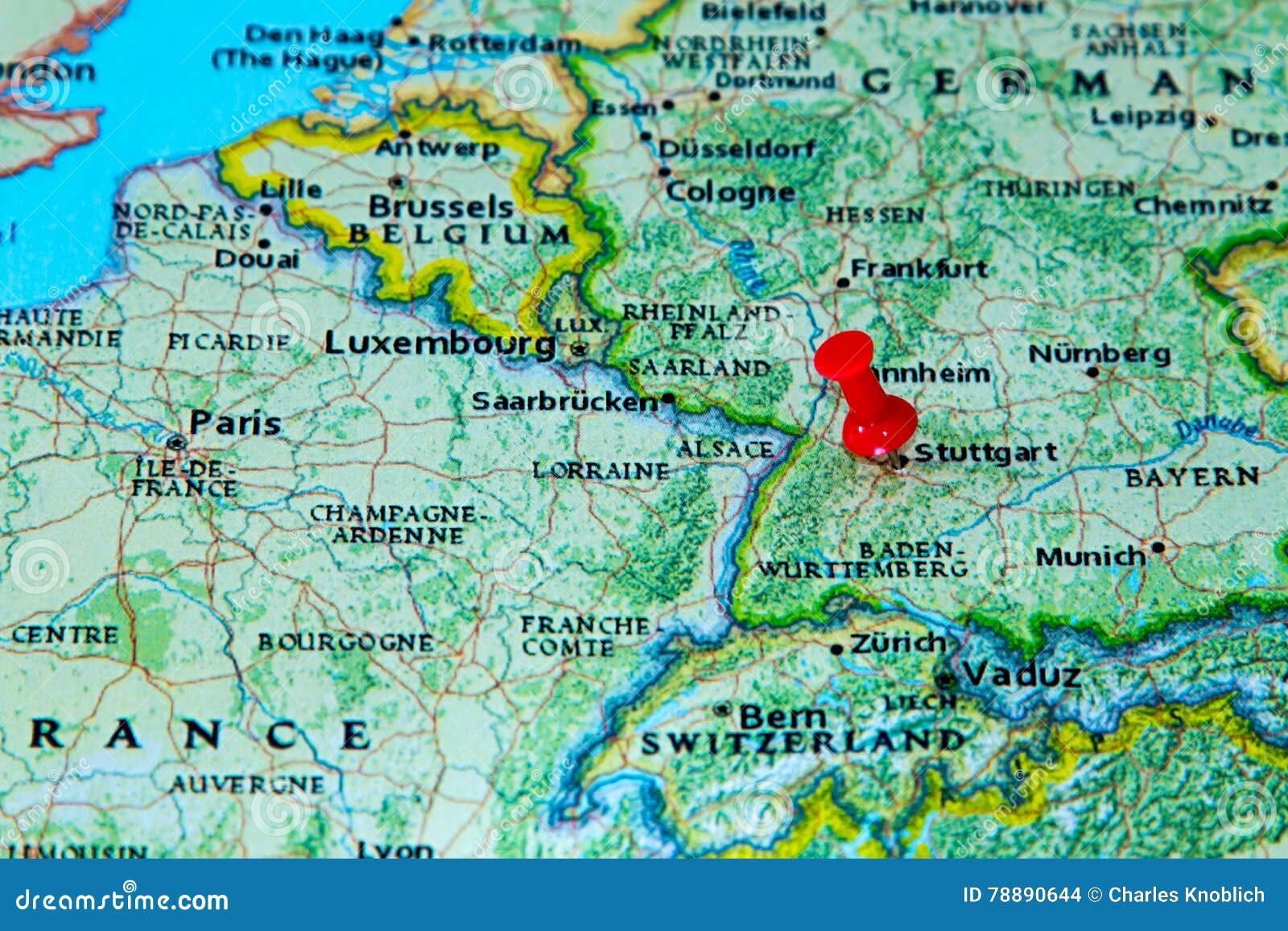 estugarda mapa Estugarda, Alemanha Fixou Em Um Mapa De Europa Foto de Stock  estugarda mapa