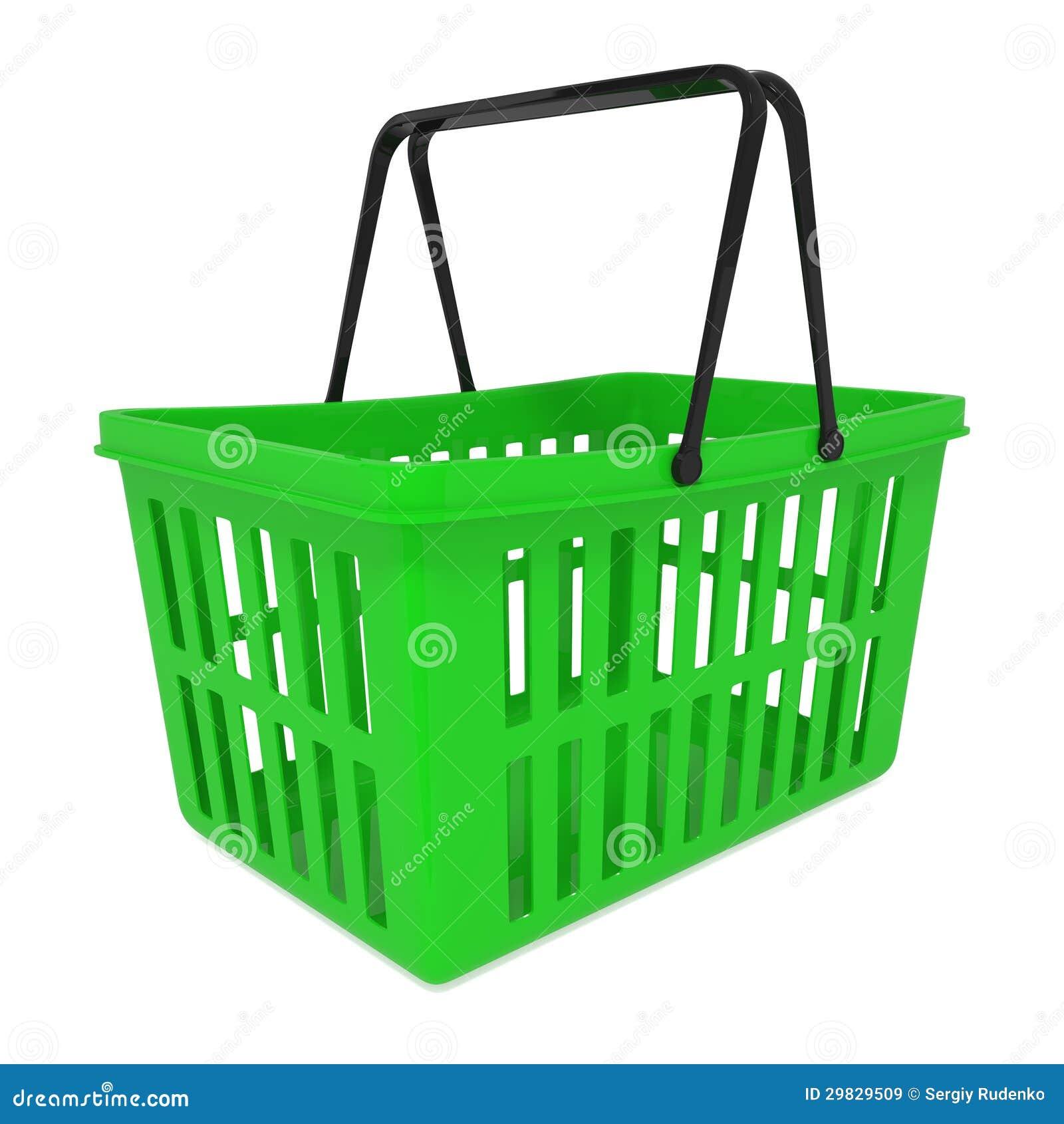 Cesto de compras verde vazio isolado no branco
