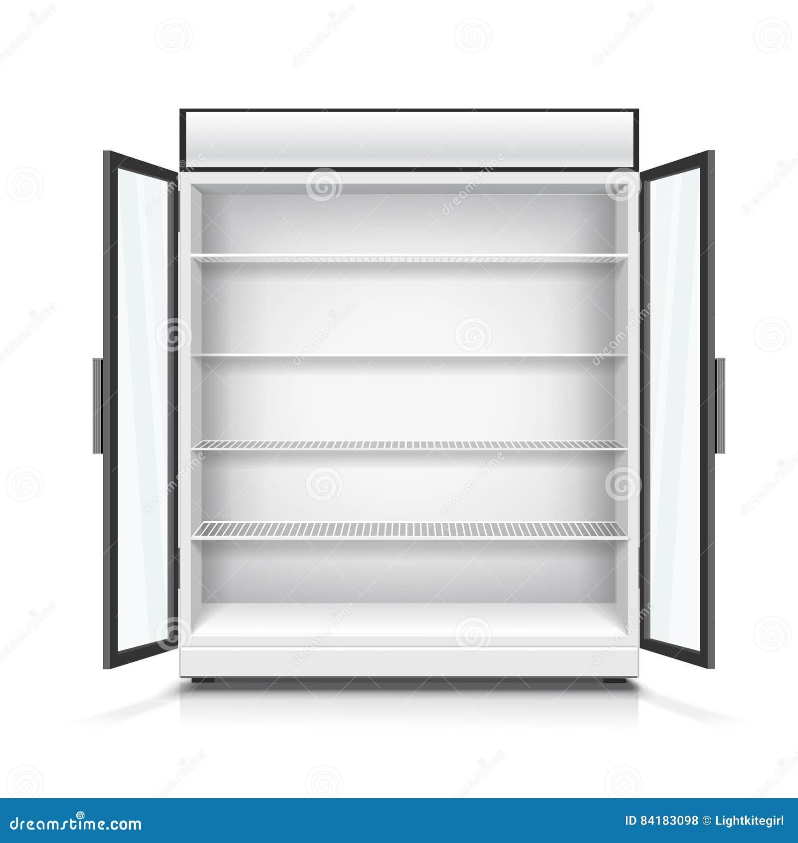 Esvazie o refrigerador comercial com prateleiras e as portas abertas Ilustração realística do vetor